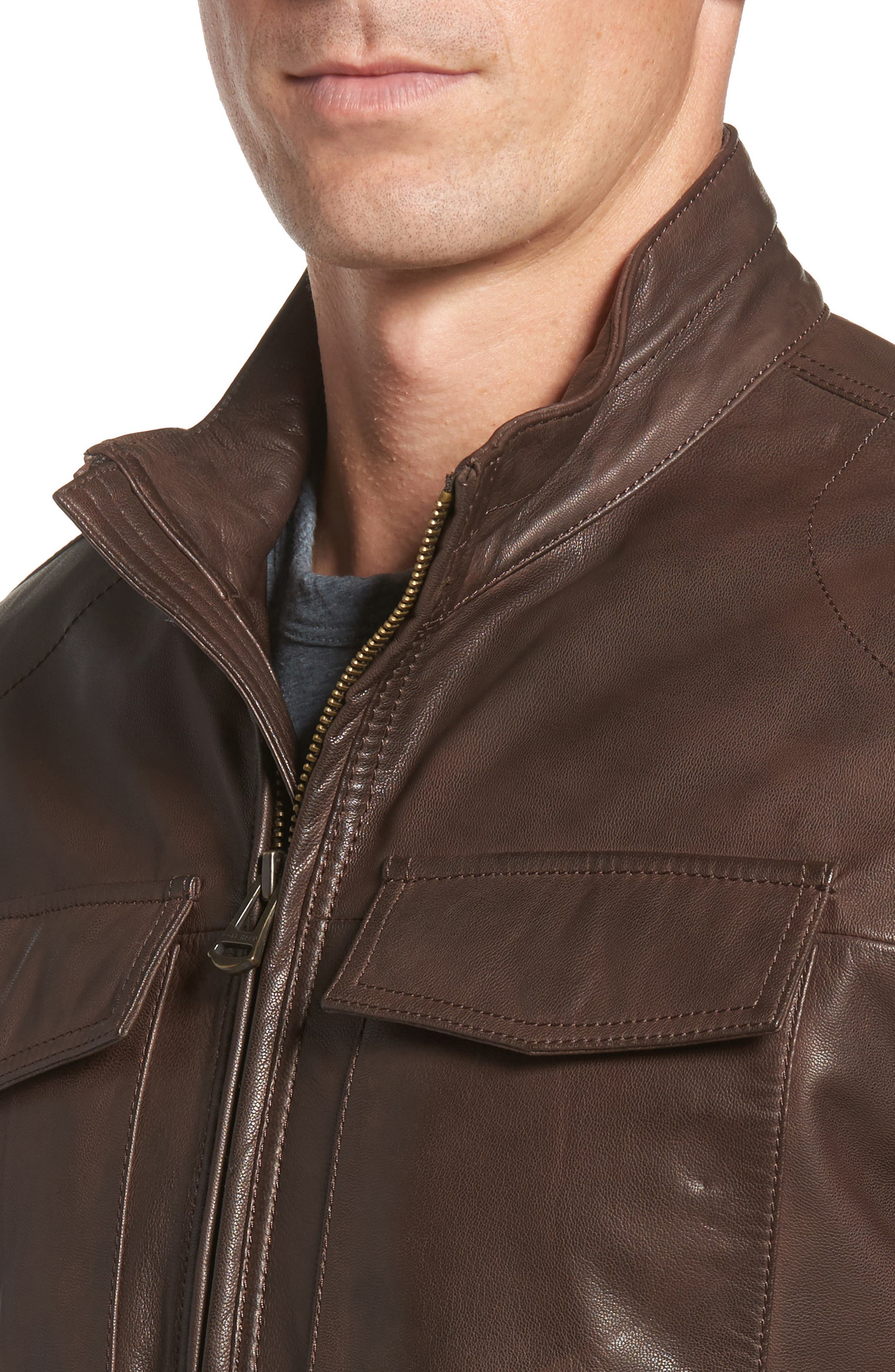 Washed Leather Trucker Jacket,                             Alternate thumbnail 4, color,                             BROWN