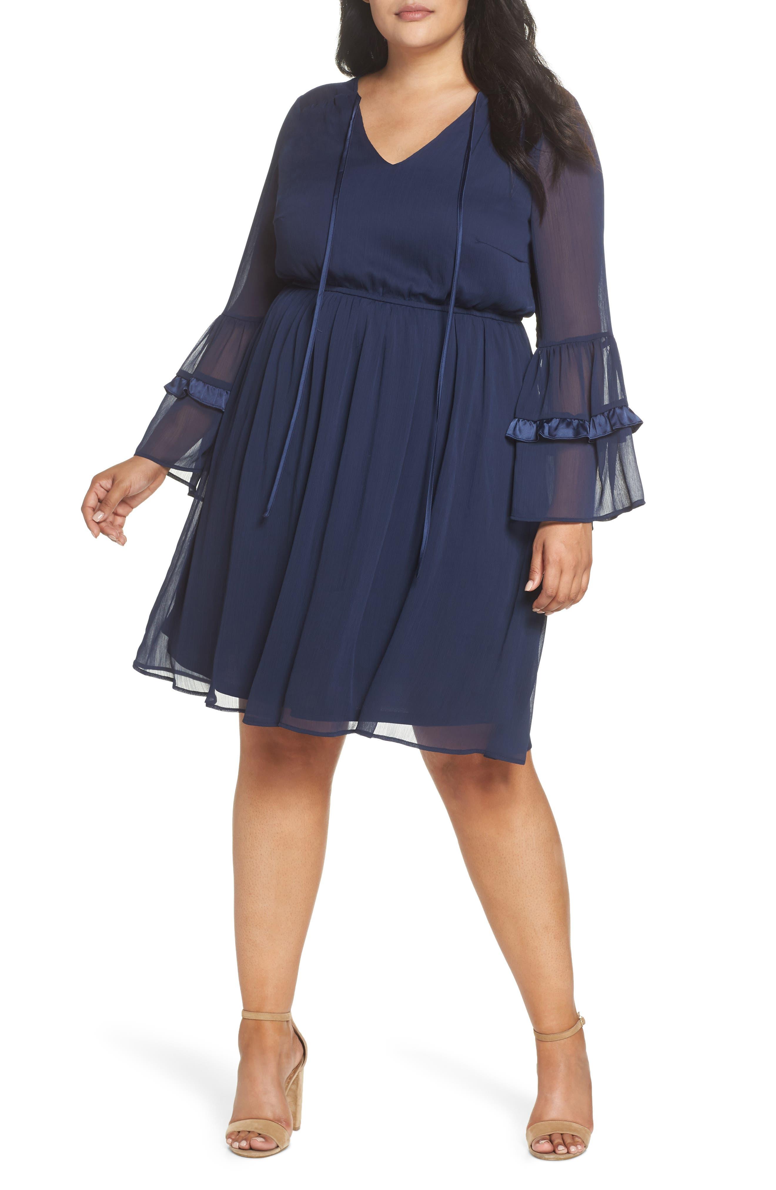 Satin Trim Chiffon Dress,                         Main,                         color, NAVY