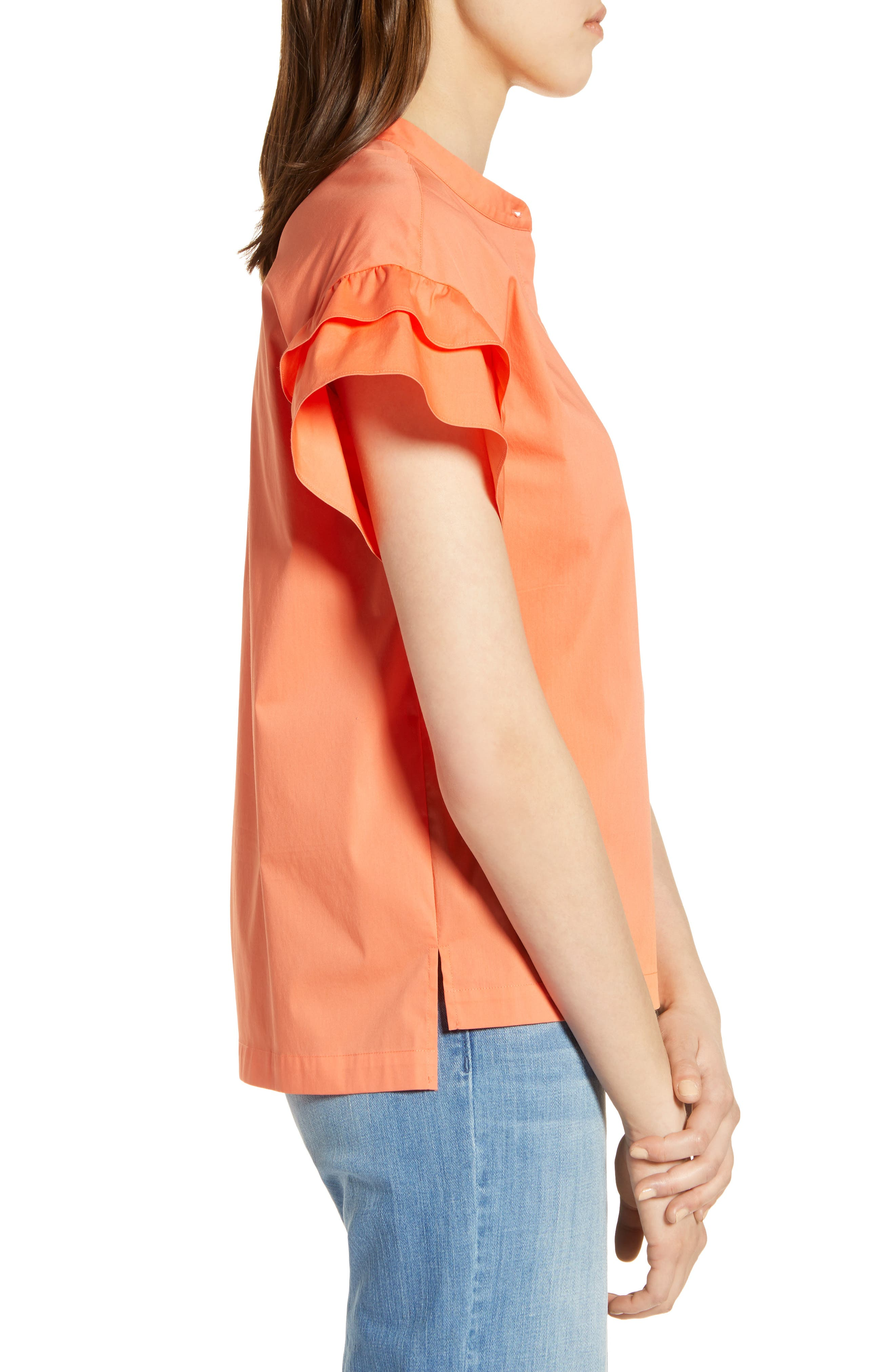 Ruffle Sleeve Stretch Cotton Blend Blouse,                             Alternate thumbnail 13, color,