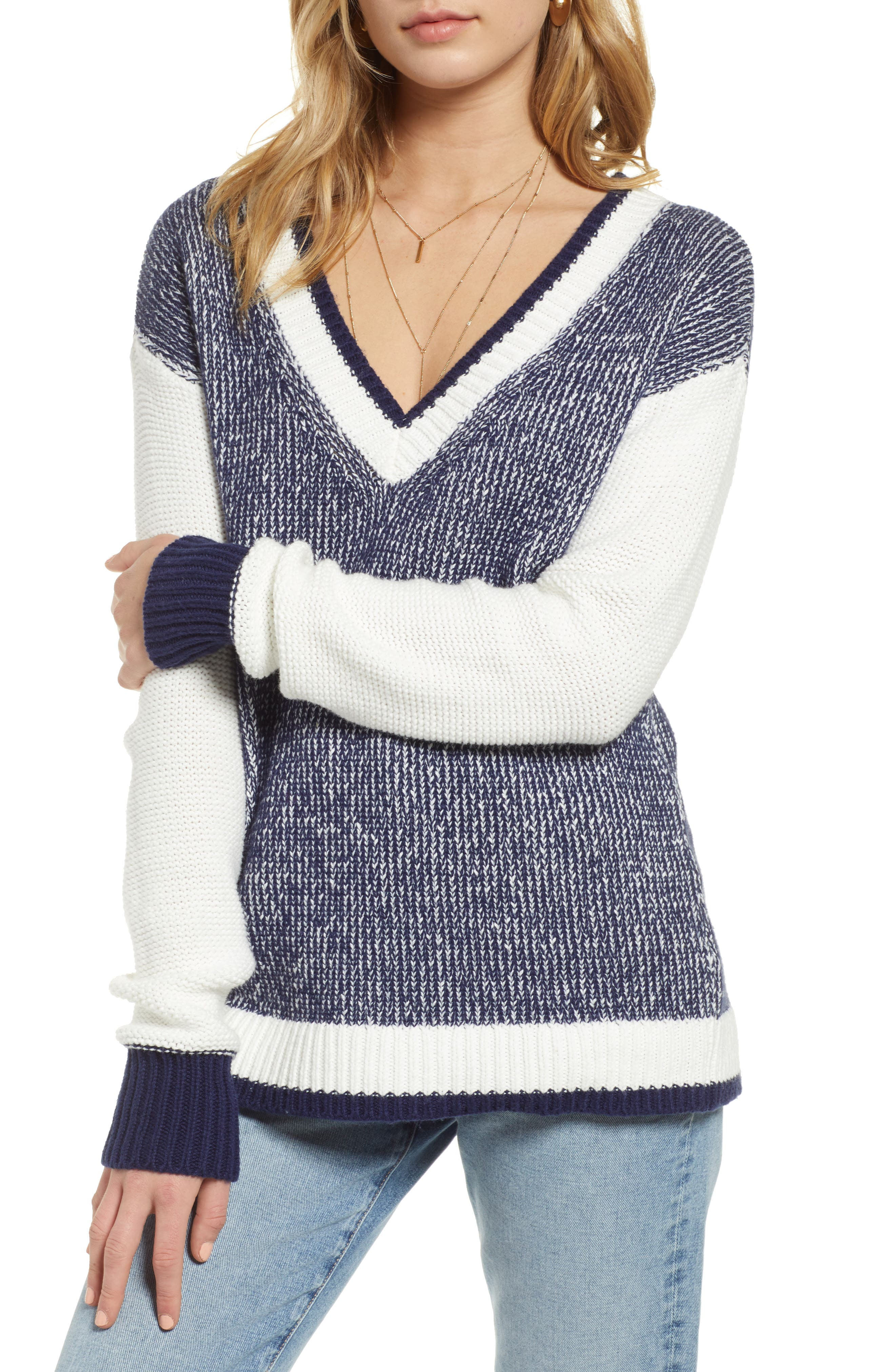 Marled V-Neck Sweater, Main, color, NAVY MARITIME- WHITE COMBO