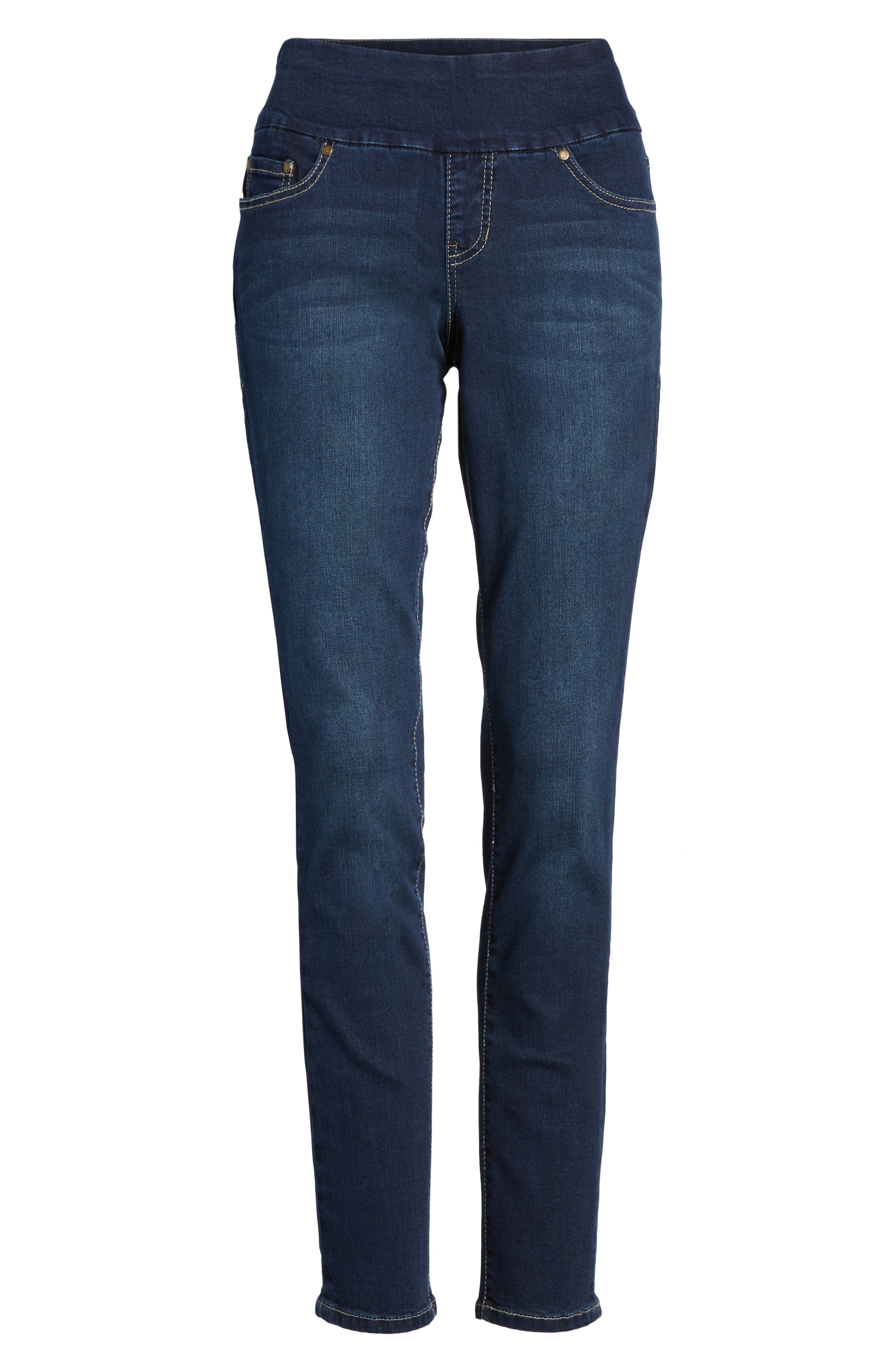 Nora Stretch Skinny Jeans,                             Alternate thumbnail 6, color,                             DARK INDIGO