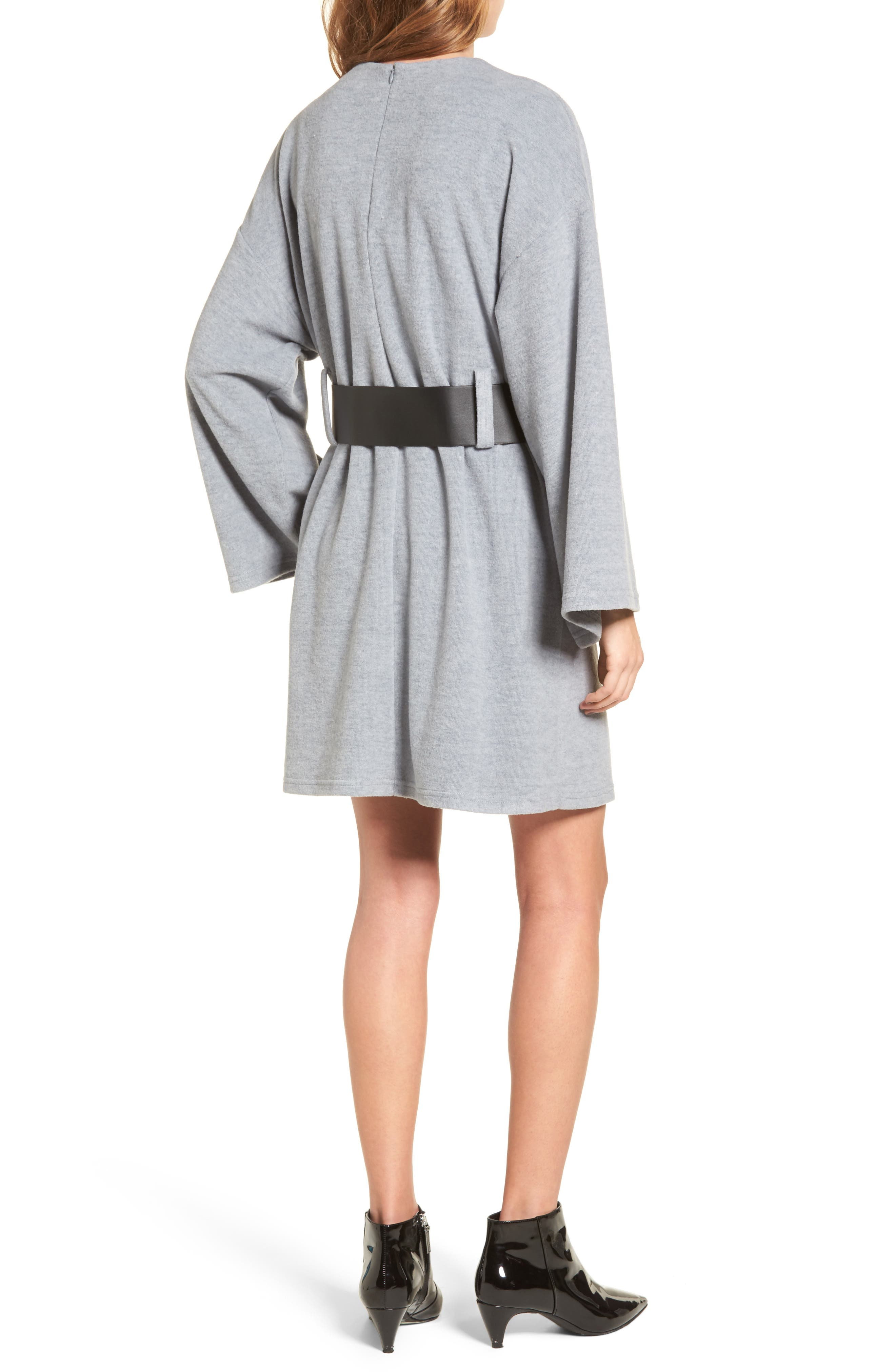Belted Bell Sleeve Sweater Dress,                             Alternate thumbnail 2, color,                             020
