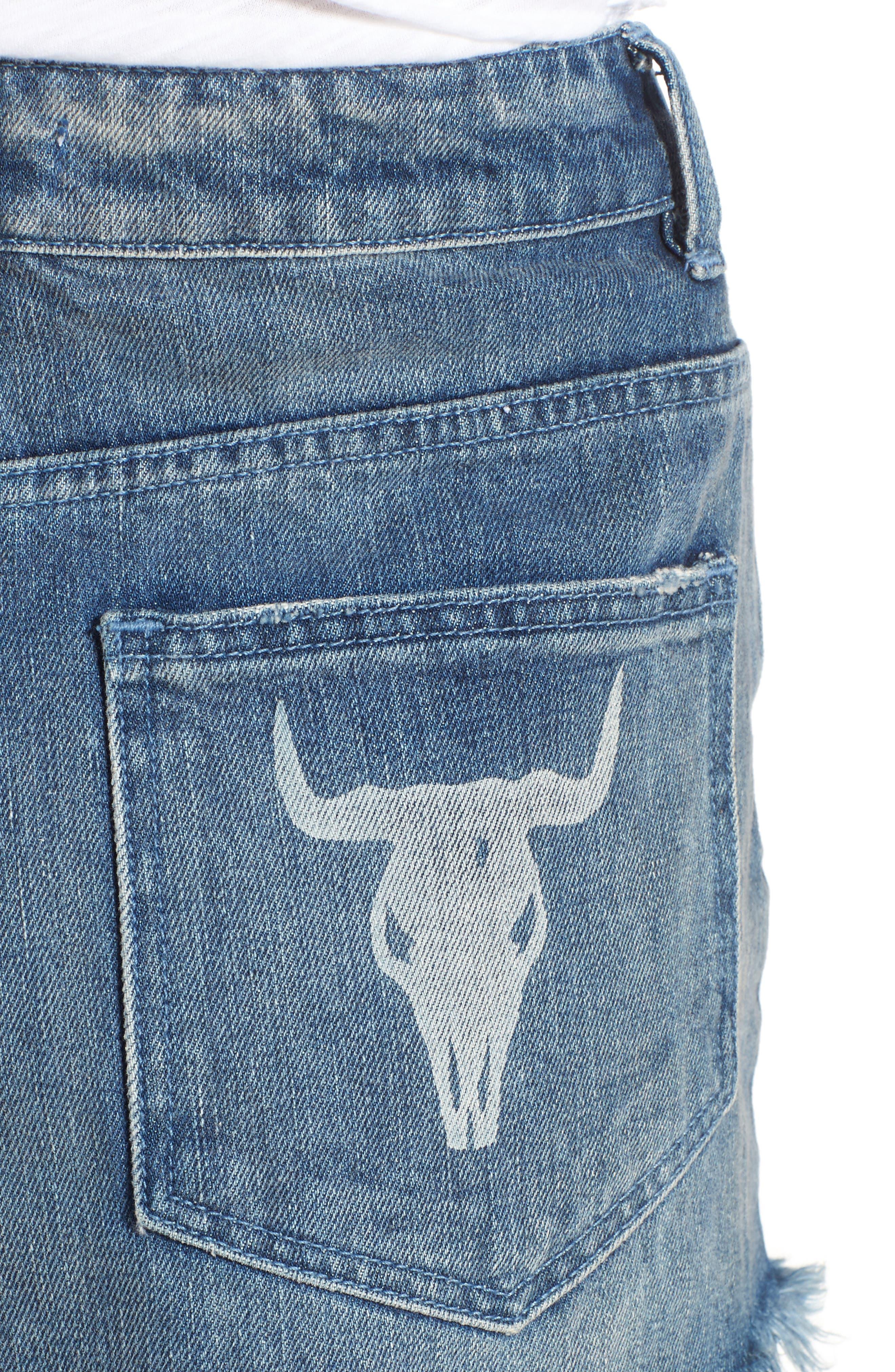 Wyoming High Waist Cutoff Denim Shorts,                             Alternate thumbnail 4, color,                             400