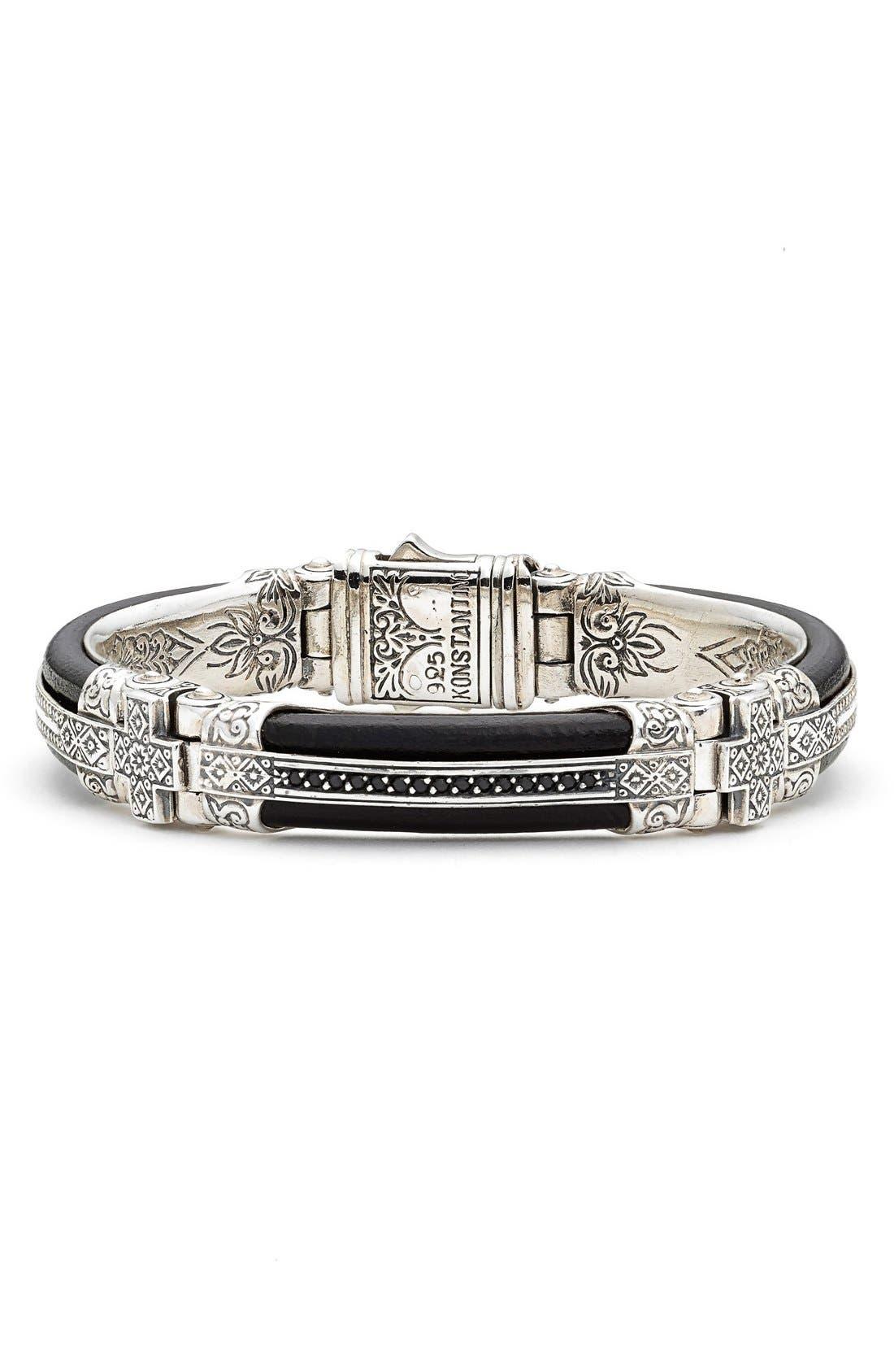 Plato Etched Sterling Silver & Leather Bracelet,                         Main,                         color, 040