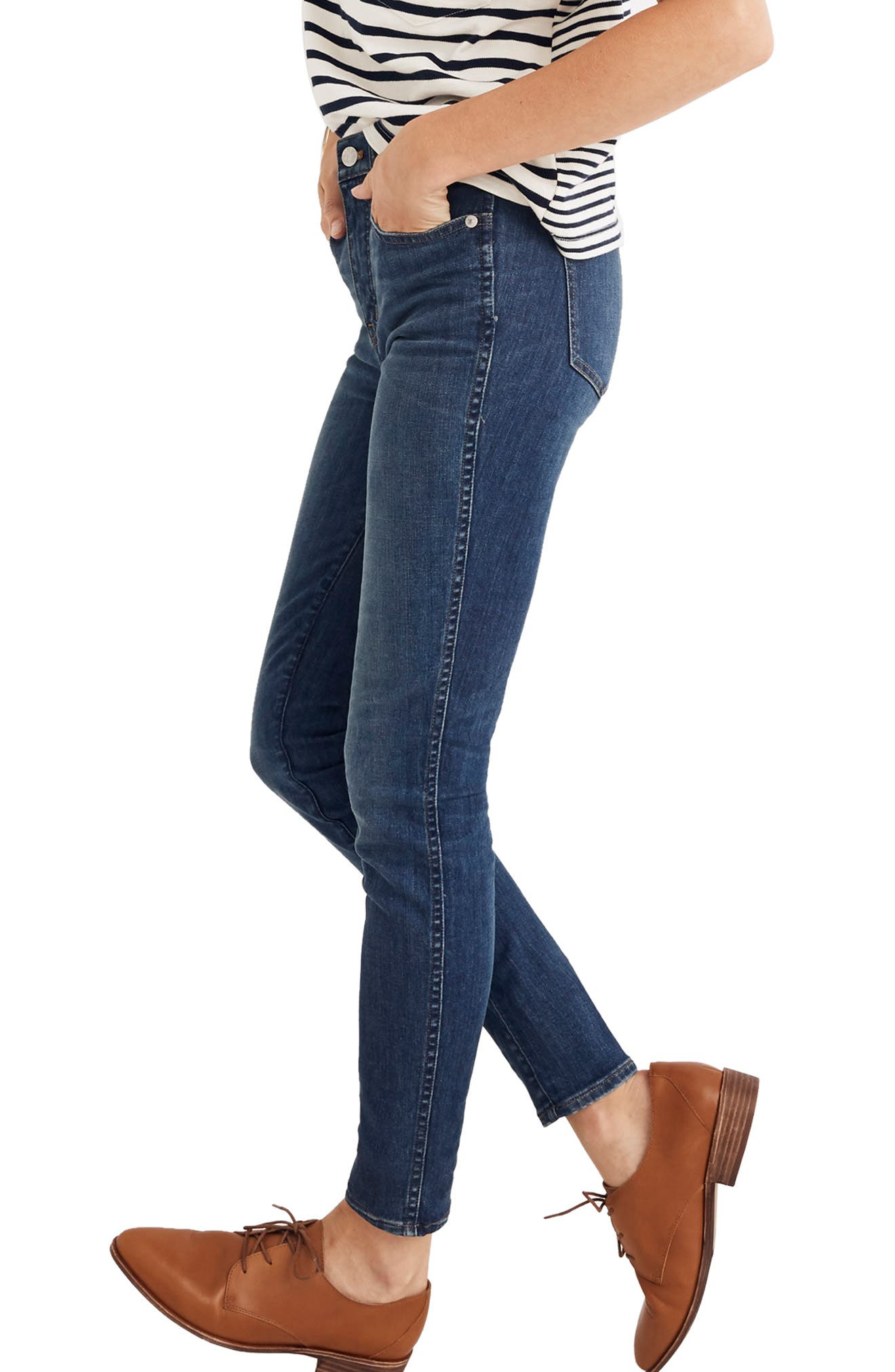 Eco Collection High Rise Skinny Jeans,                             Alternate thumbnail 4, color,                             ELINOR