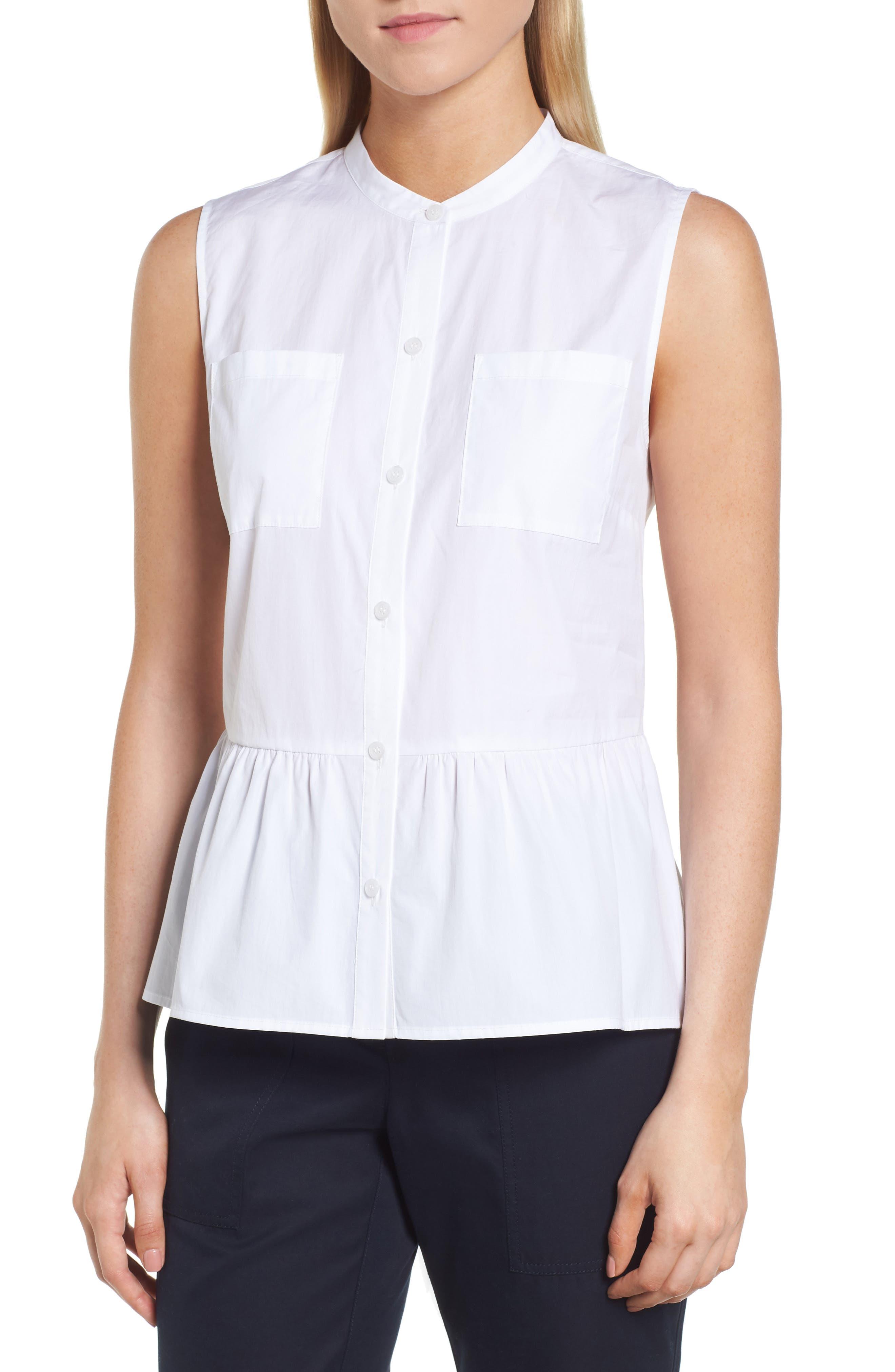 Sleeveless Peplum Cotton Blouse,                         Main,                         color, 100