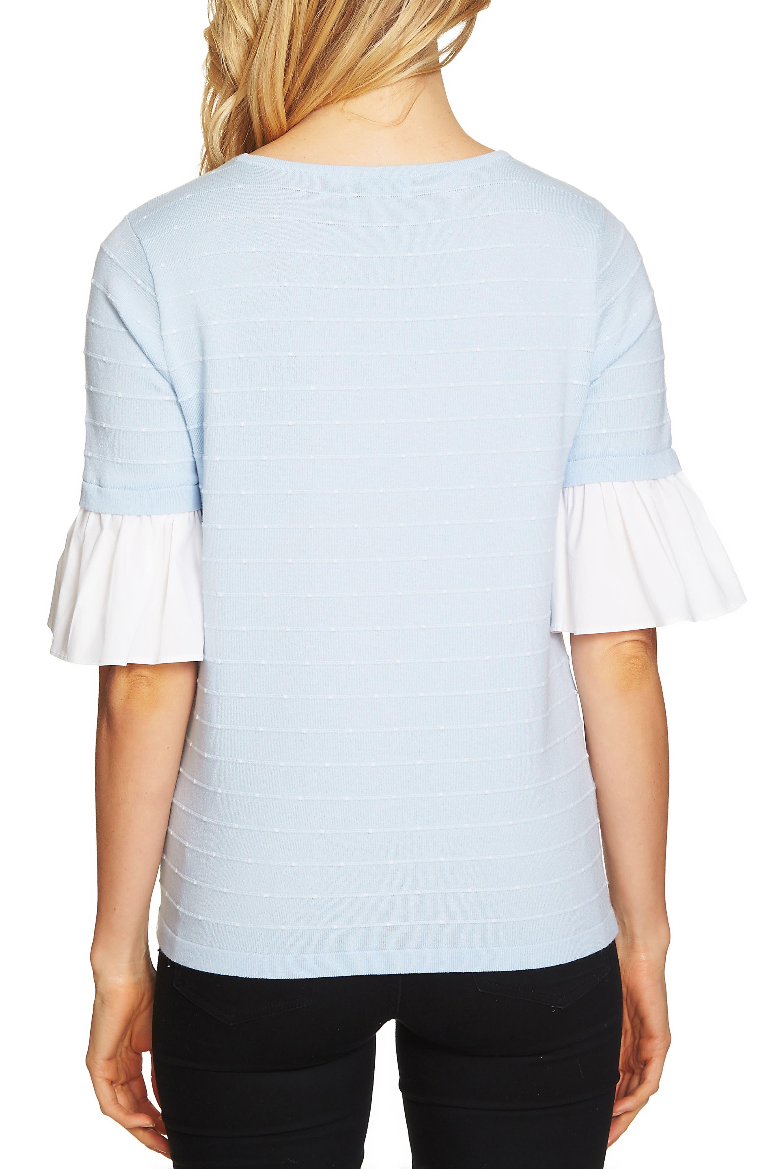Ruffle Sleeve Jacquard Sweater,                             Alternate thumbnail 5, color,