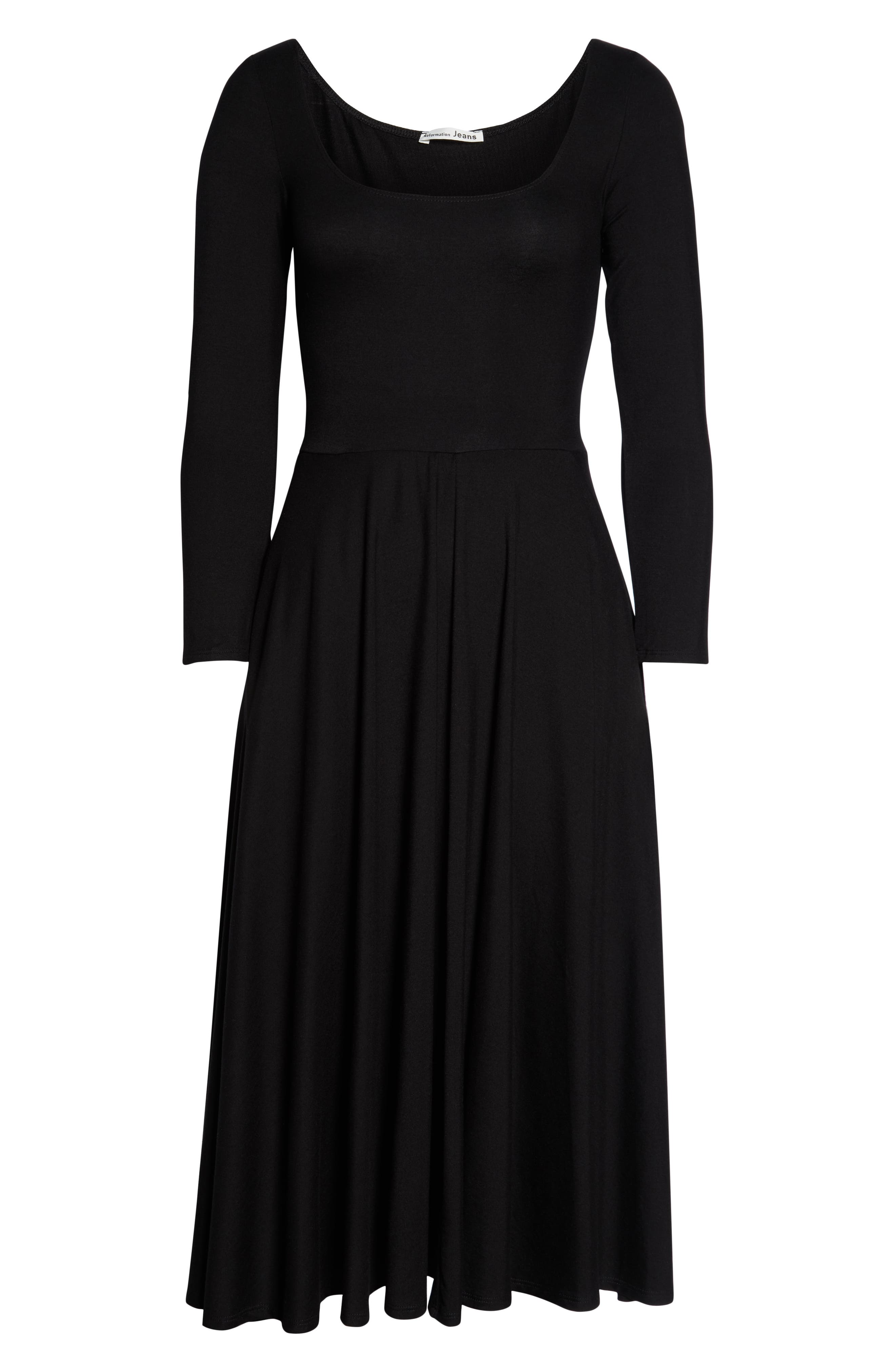 Lou Midi Dress,                             Alternate thumbnail 4, color,                             BLACK