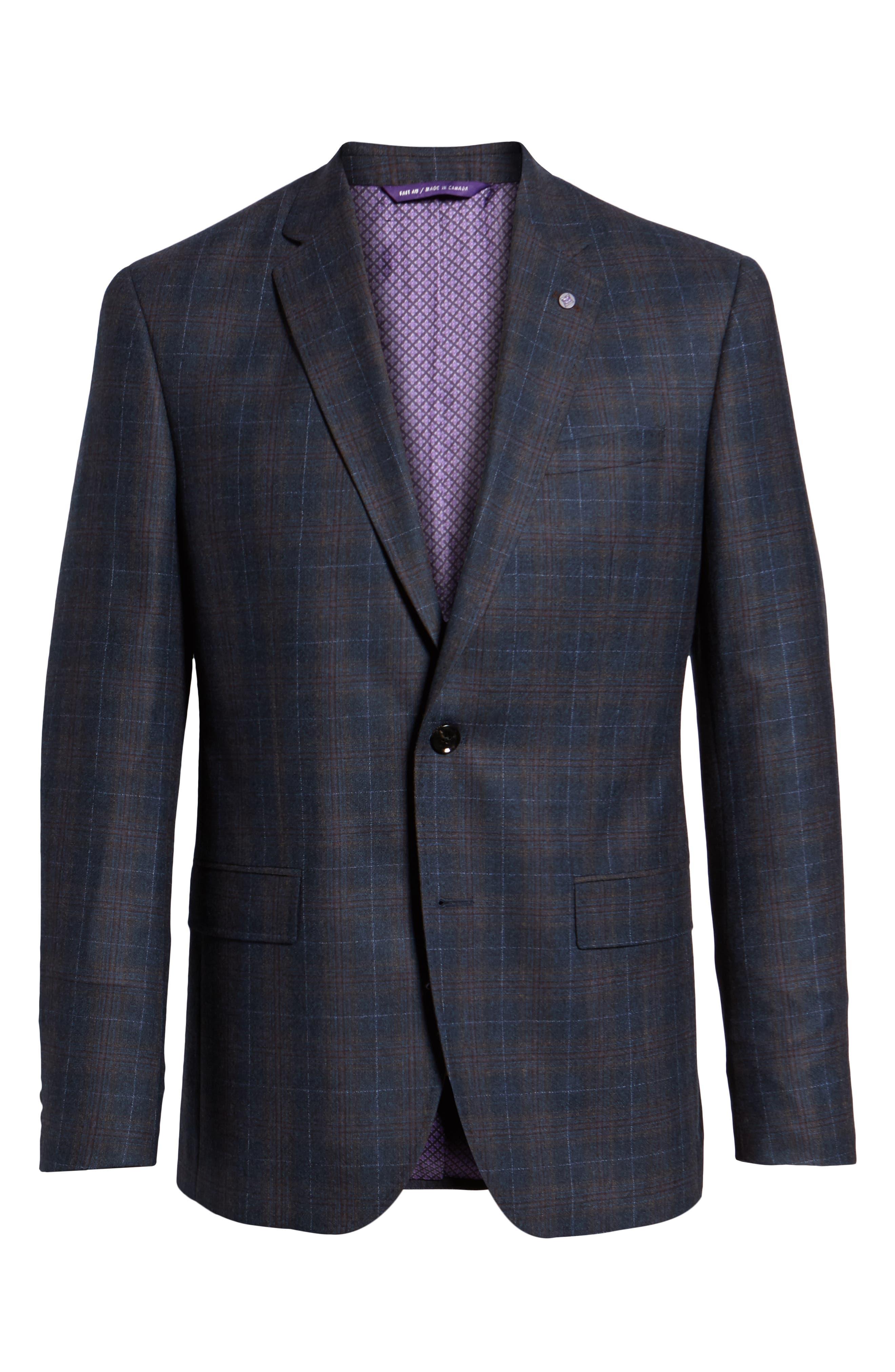 Jay 2B Trim Fit Plaid Wool Sport Coat,                             Alternate thumbnail 5, color,                             BLUE PLAID