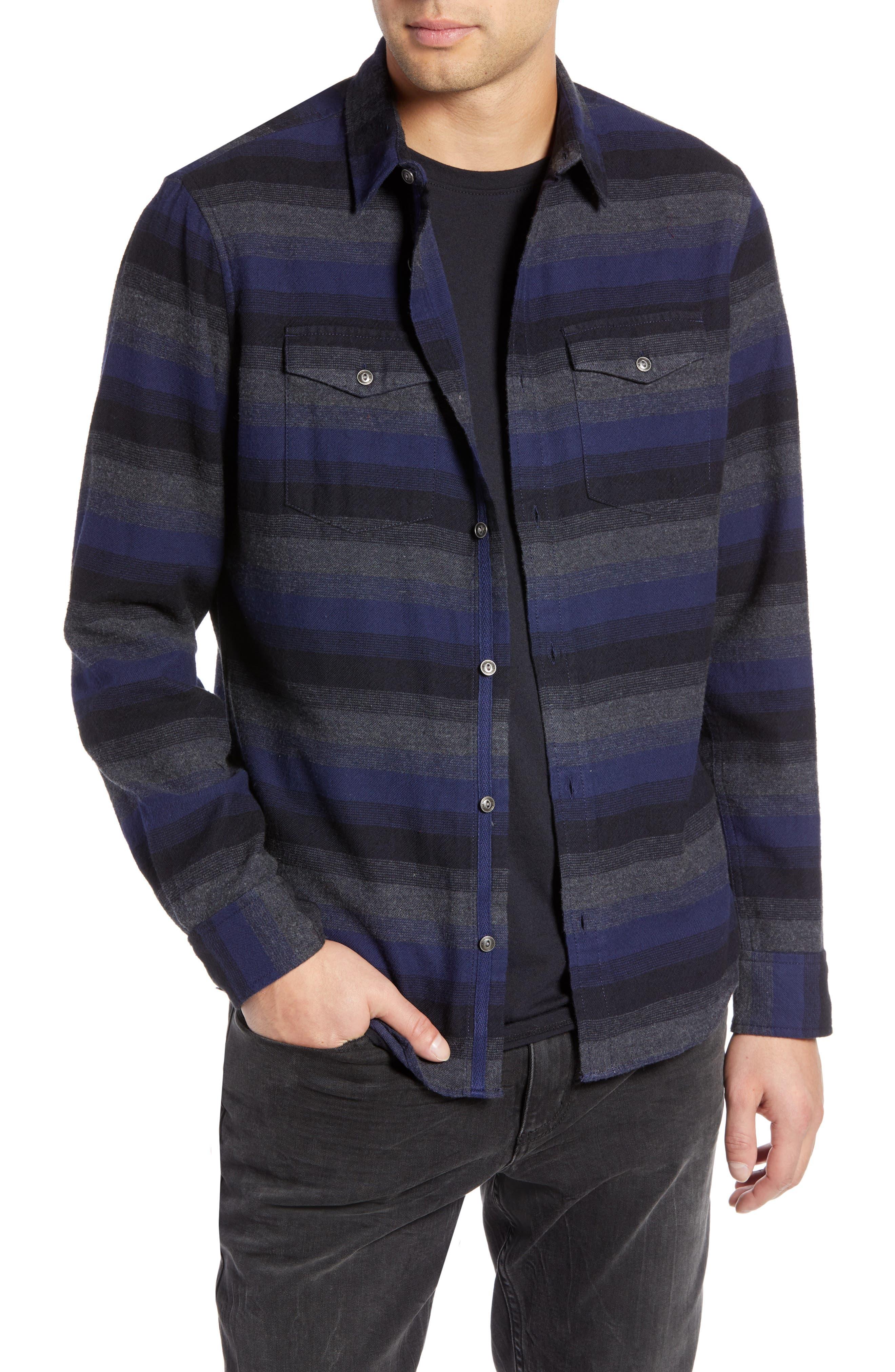 Regular Fit Ombré Sport Shirt,                             Main thumbnail 1, color,                             NAVY CHARCOAL OMBRE STRIPE