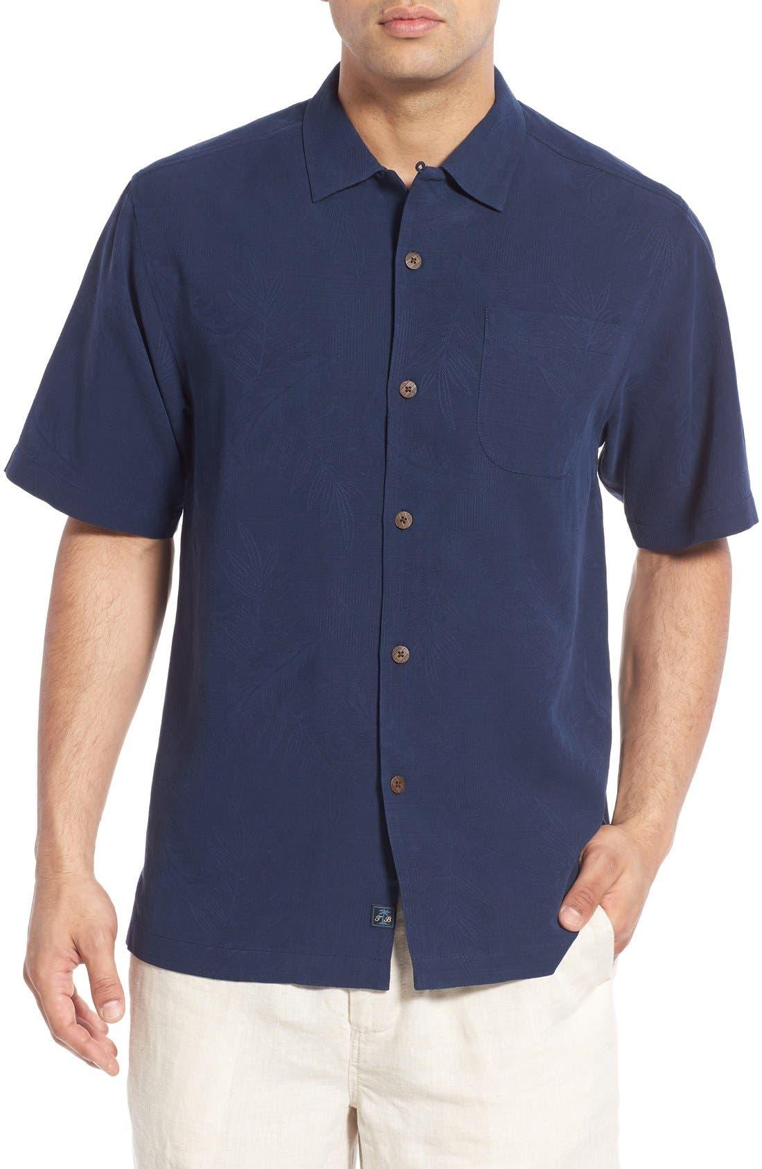 Rio Fronds Short Sleeve Silk Sport Shirt,                             Main thumbnail 9, color,