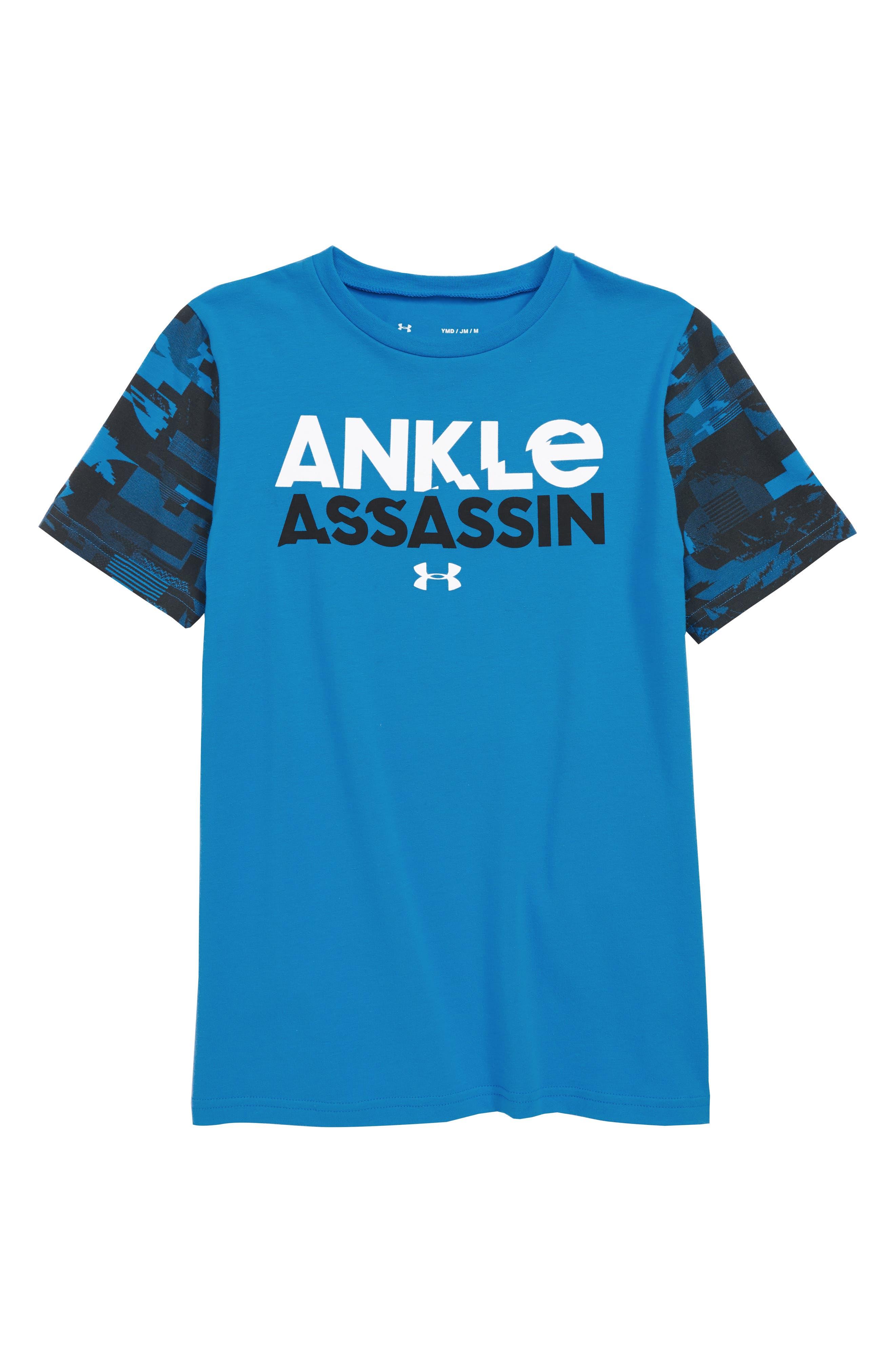 Ankle Assassin HeatGear<sup>®</sup> T-Shirt,                             Main thumbnail 1, color,                             BRILLIANT BLUE / WHITE