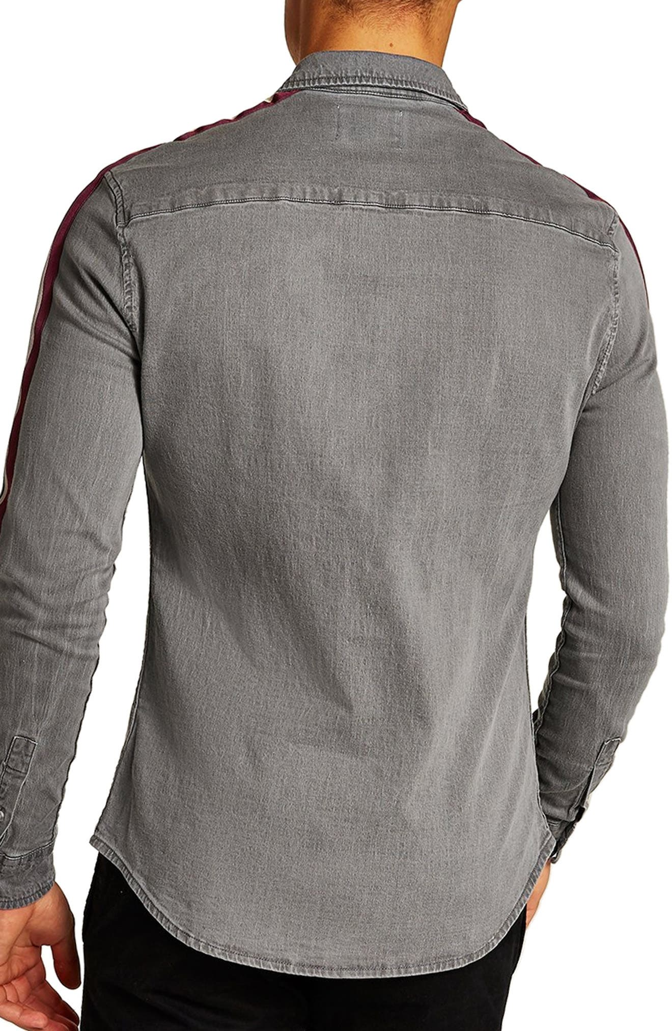 Taping Denim Shirt,                             Alternate thumbnail 3, color,                             GREY MULTI