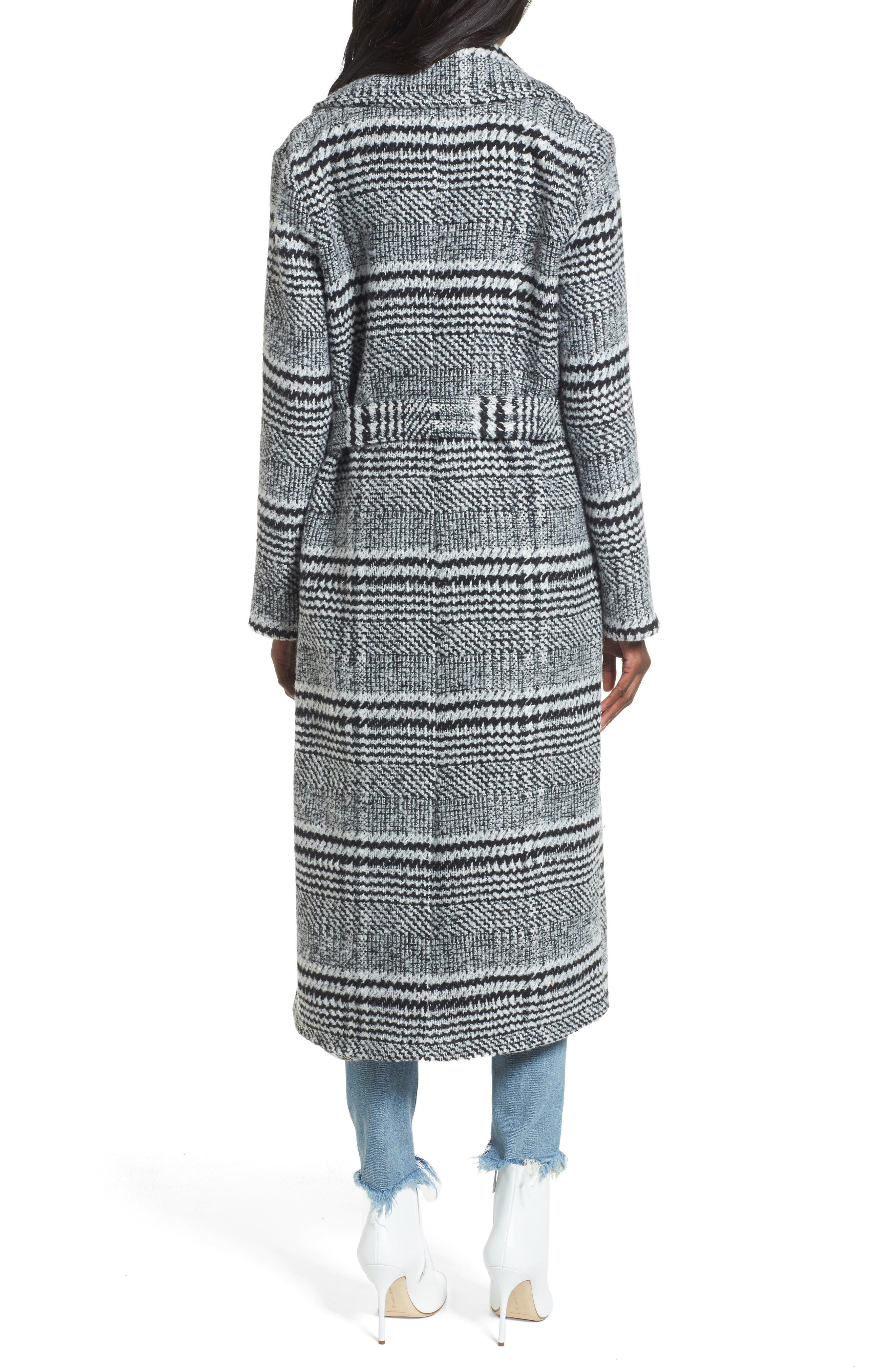 Sabra Longline Plaid Coat,                             Alternate thumbnail 2, color,                             001