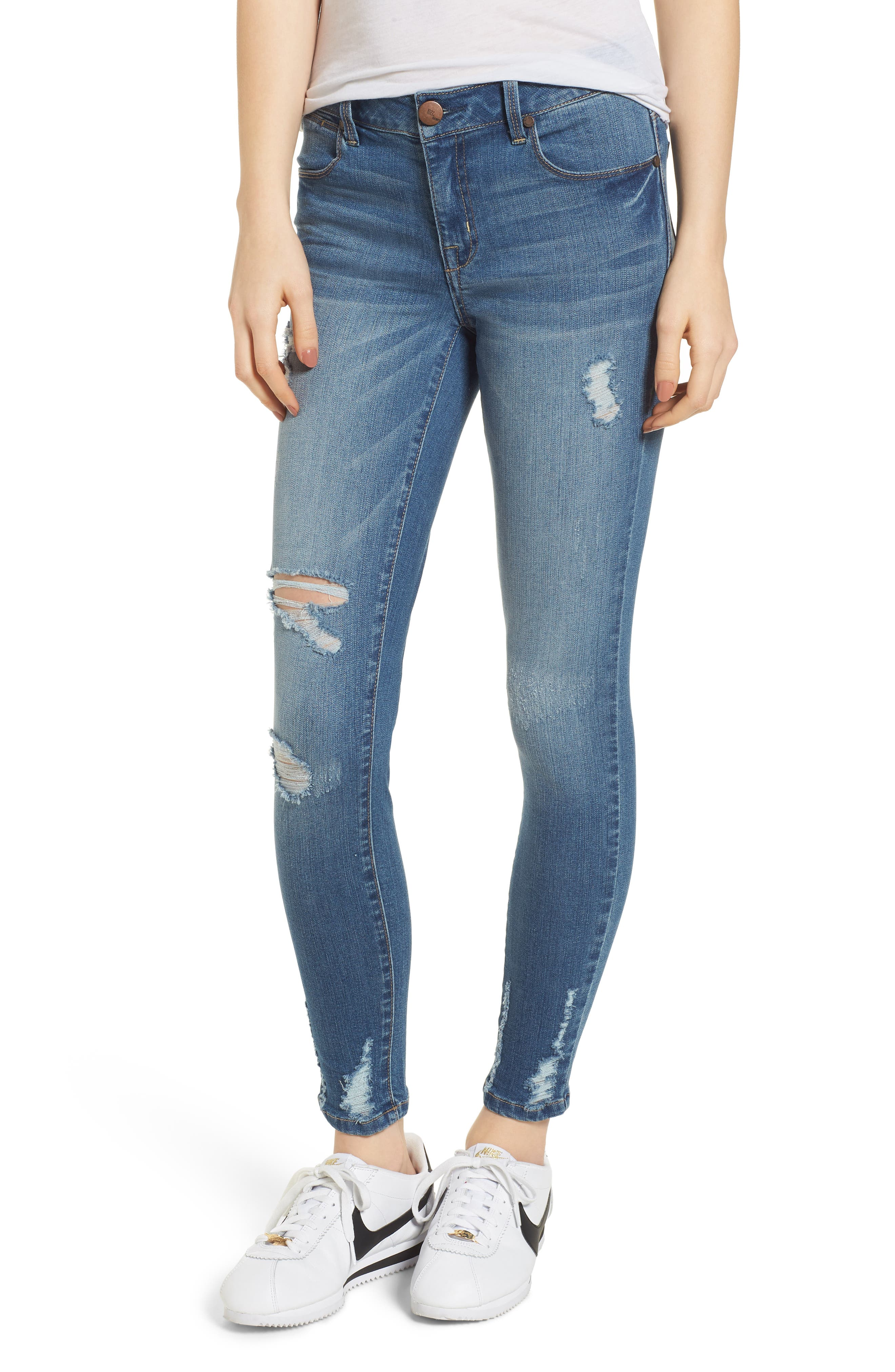 Ripped Skinny Ankle Jeans,                             Main thumbnail 1, color,                             423
