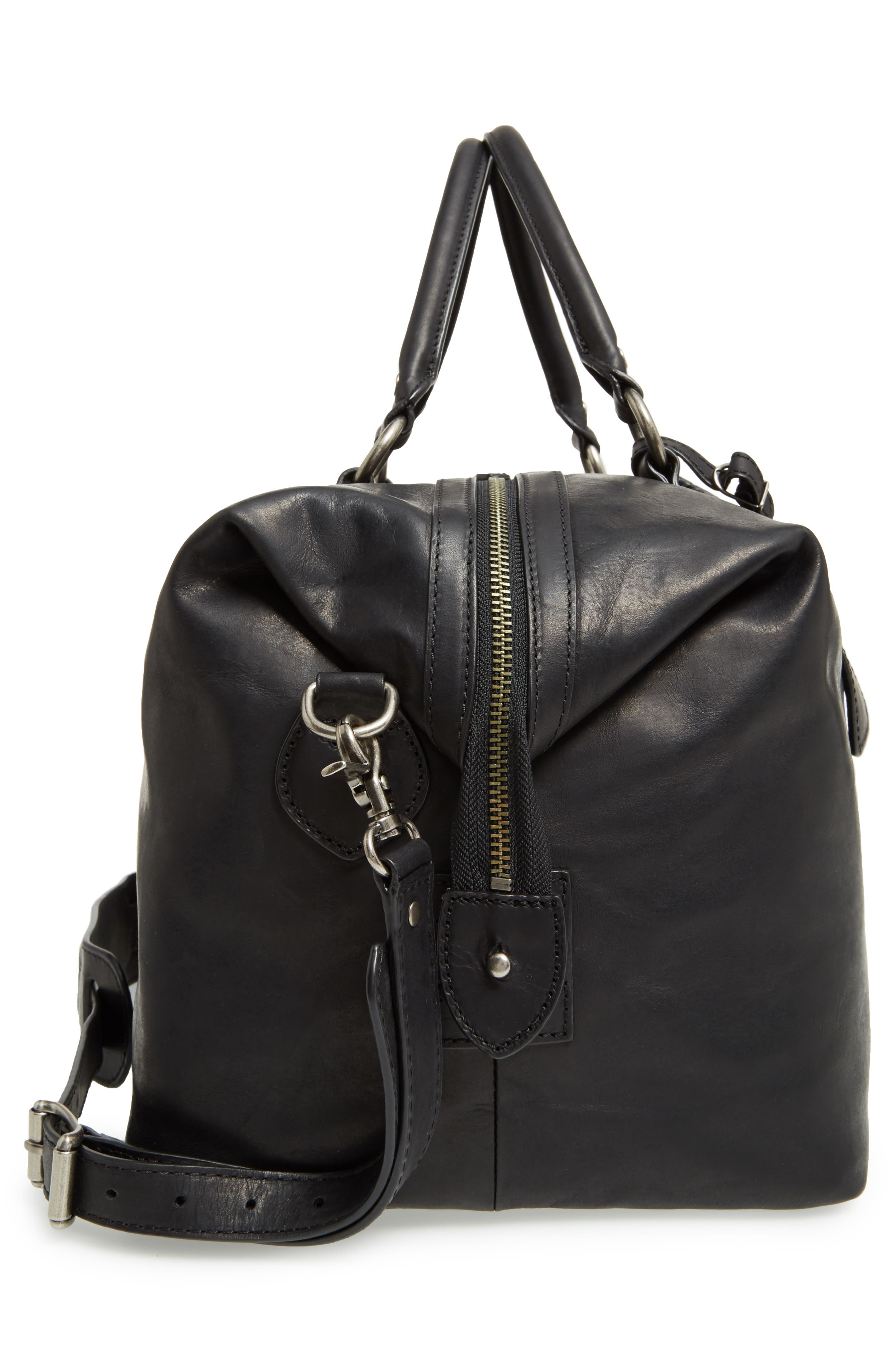 'Logan' Leather Overnight Bag,                             Alternate thumbnail 5, color,                             001