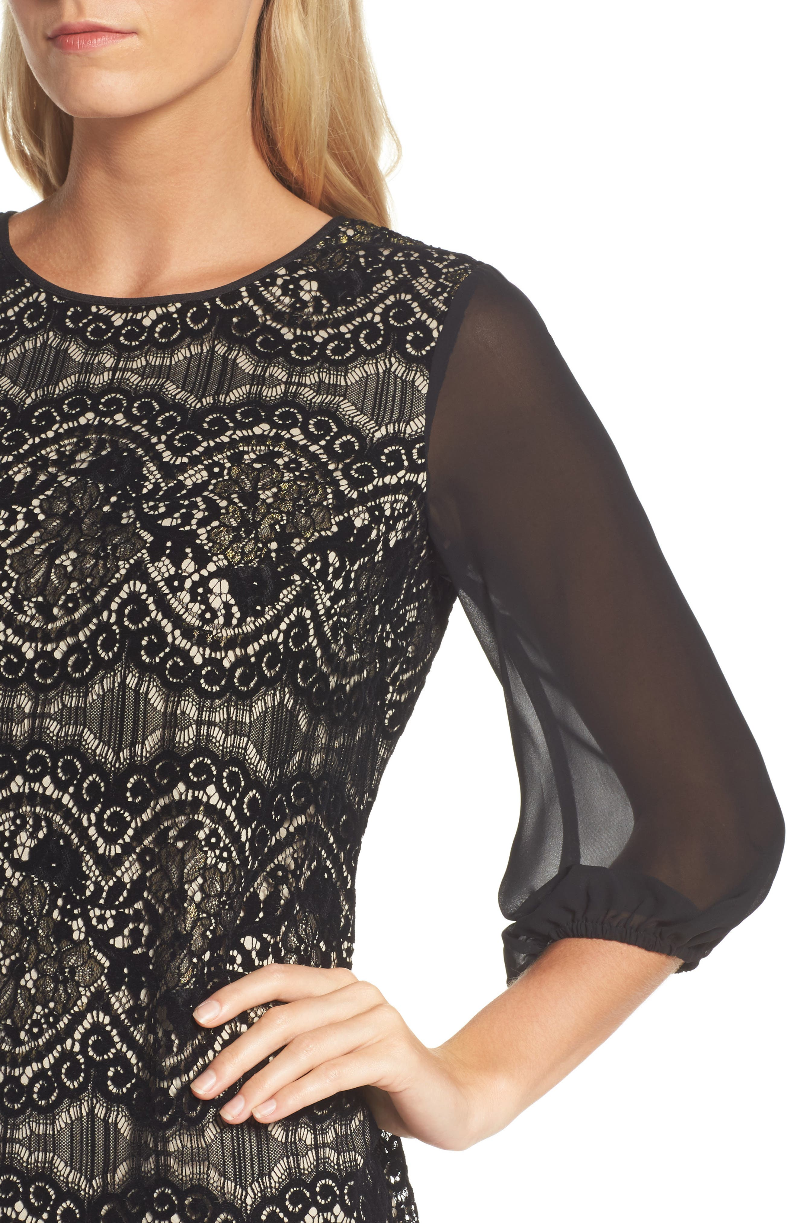 Flocked Lace Shift Dress,                             Alternate thumbnail 4, color,                             001