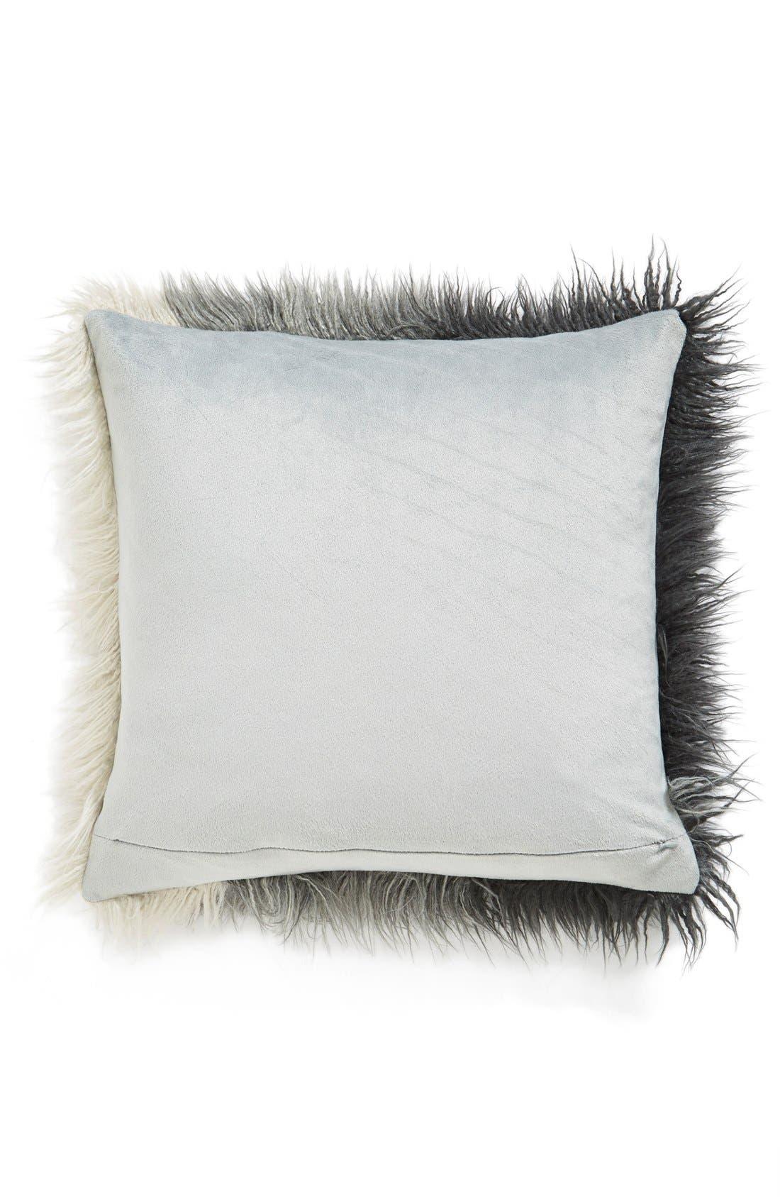 Ombré Faux Fur Flokati Accent Pillow,                             Alternate thumbnail 18, color,