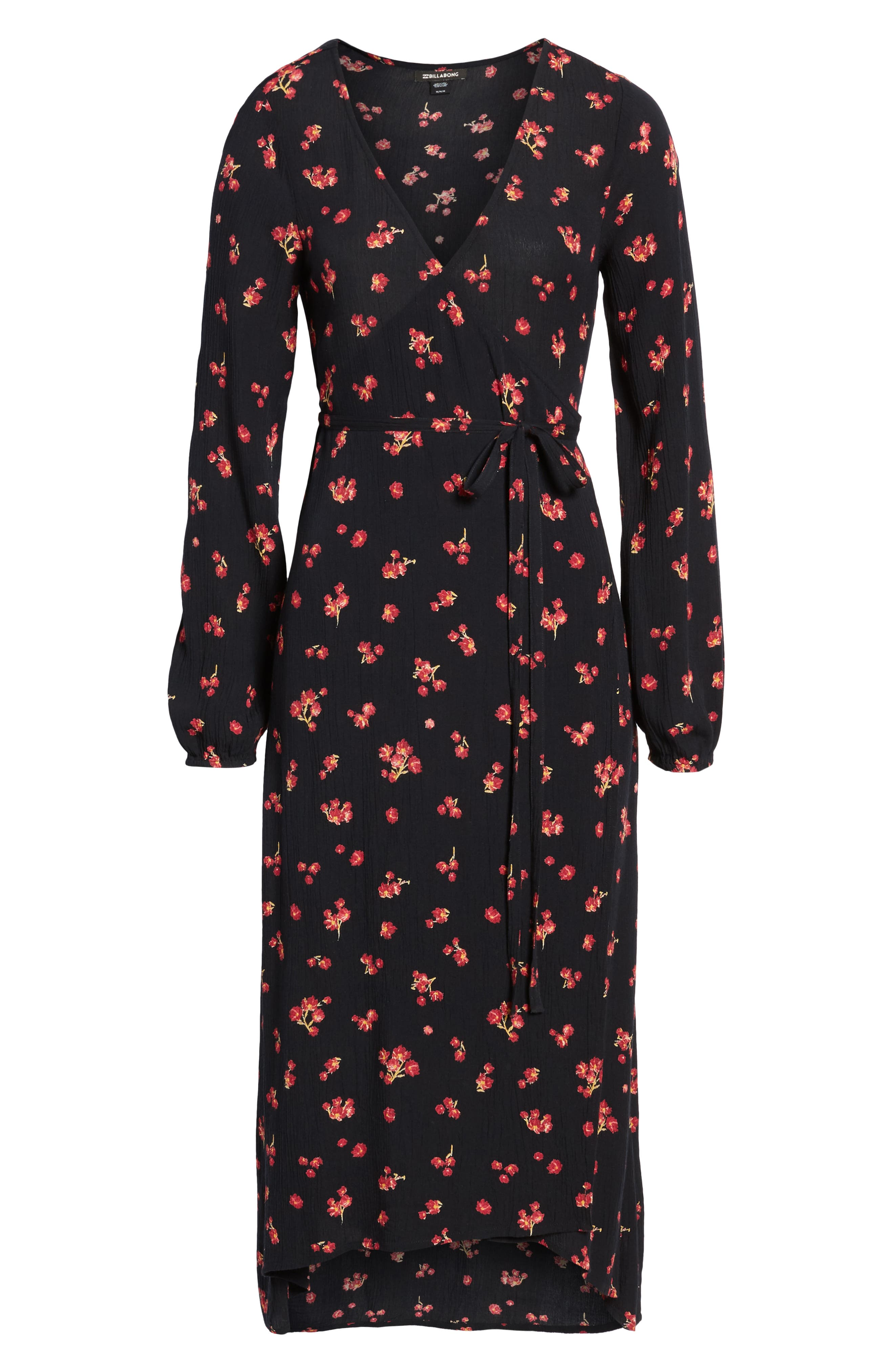 Forever Wild Floral Print Wrap Dress,                             Alternate thumbnail 6, color,                             001