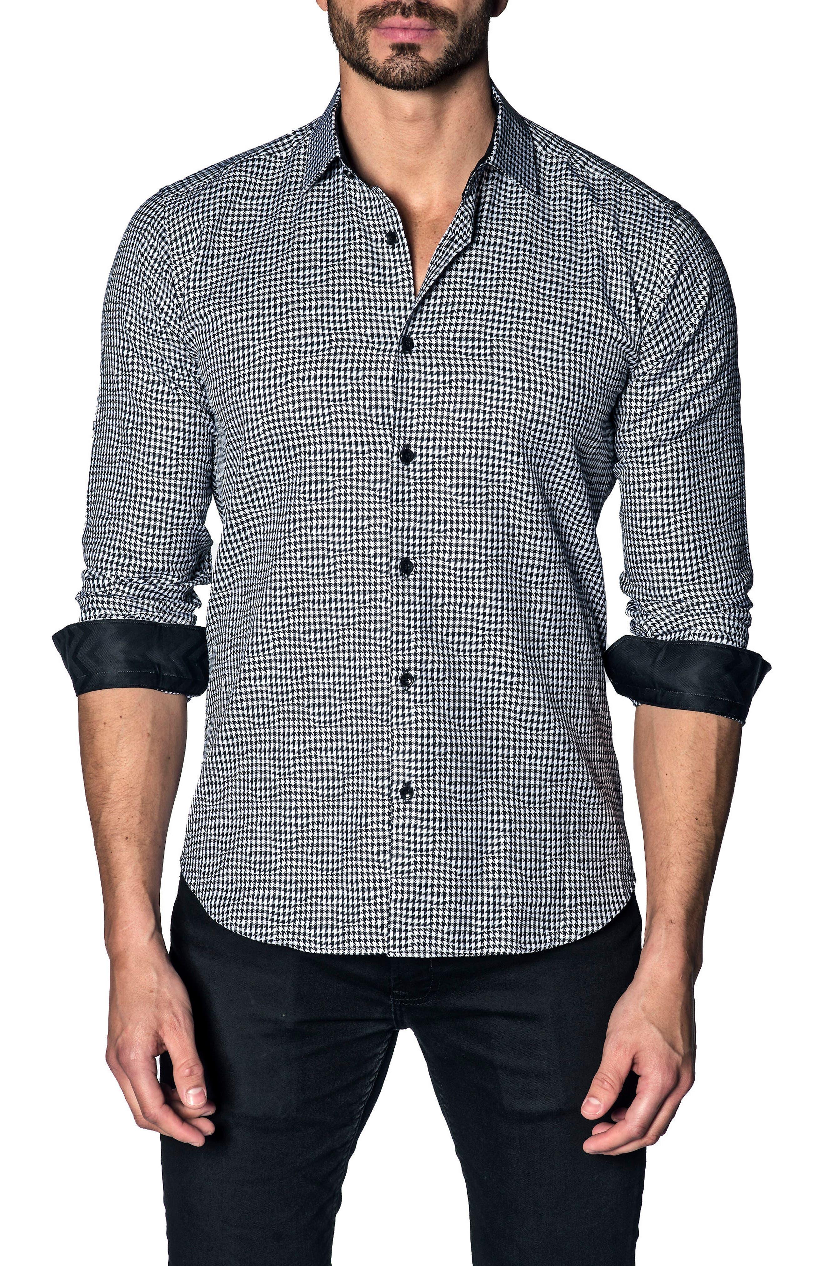 Slim Fit Houndstooth Sport Shirt,                         Main,                         color, WHITE BLACK HOUNDSTOOTH