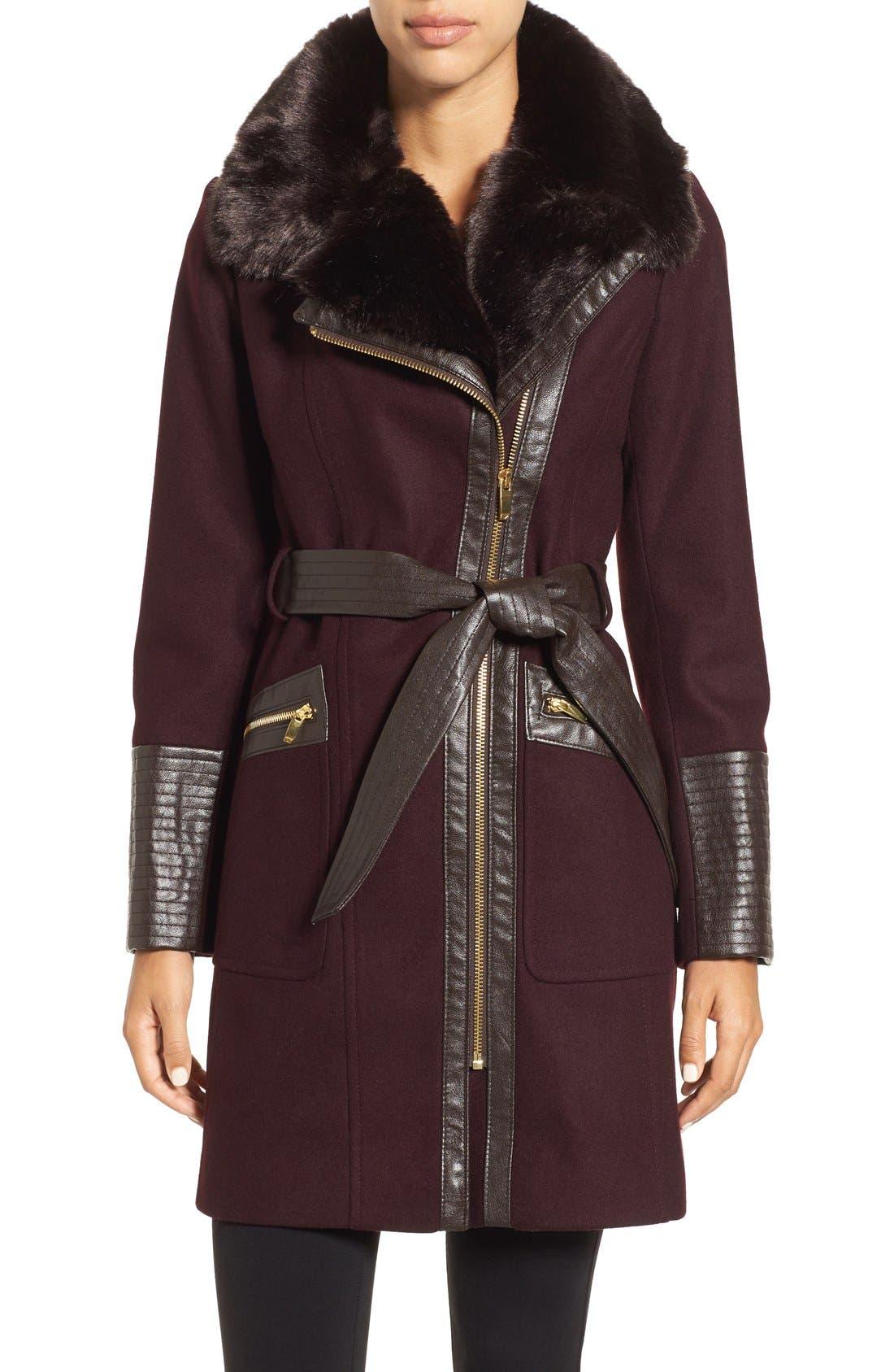 Faux Leather & Faux Fur Trim Belted Wool Blend Coat,                             Main thumbnail 8, color,