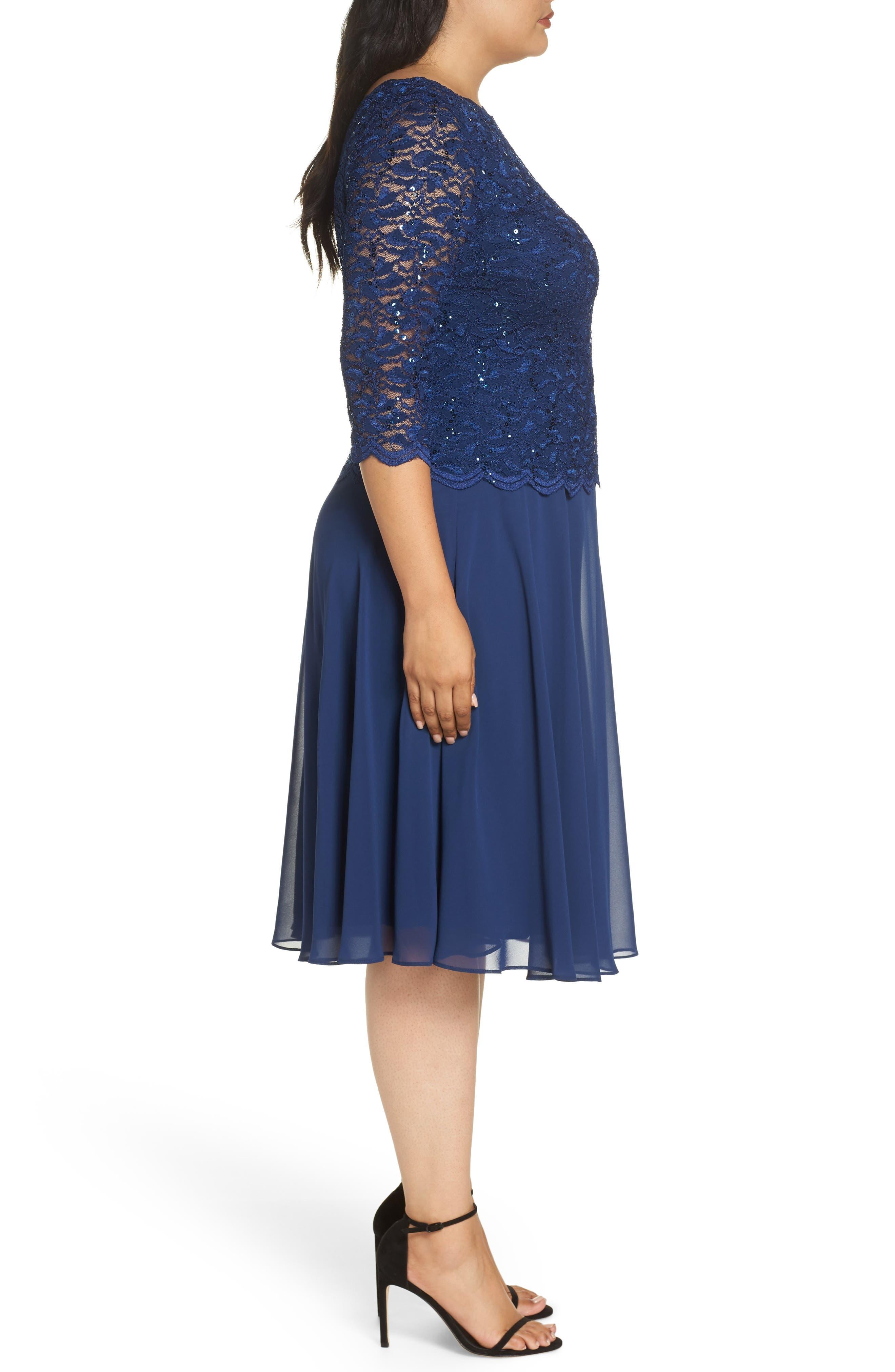 Mock Two-Piece Tea Length Dress,                             Alternate thumbnail 3, color,                             COBALT