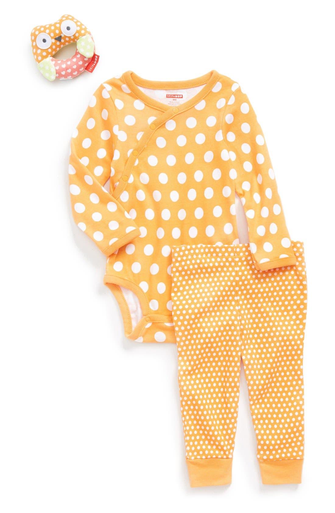 SKIP HOP Long Sleeve Wrap Bodysuit, Pants & Rattle, Main, color, 800