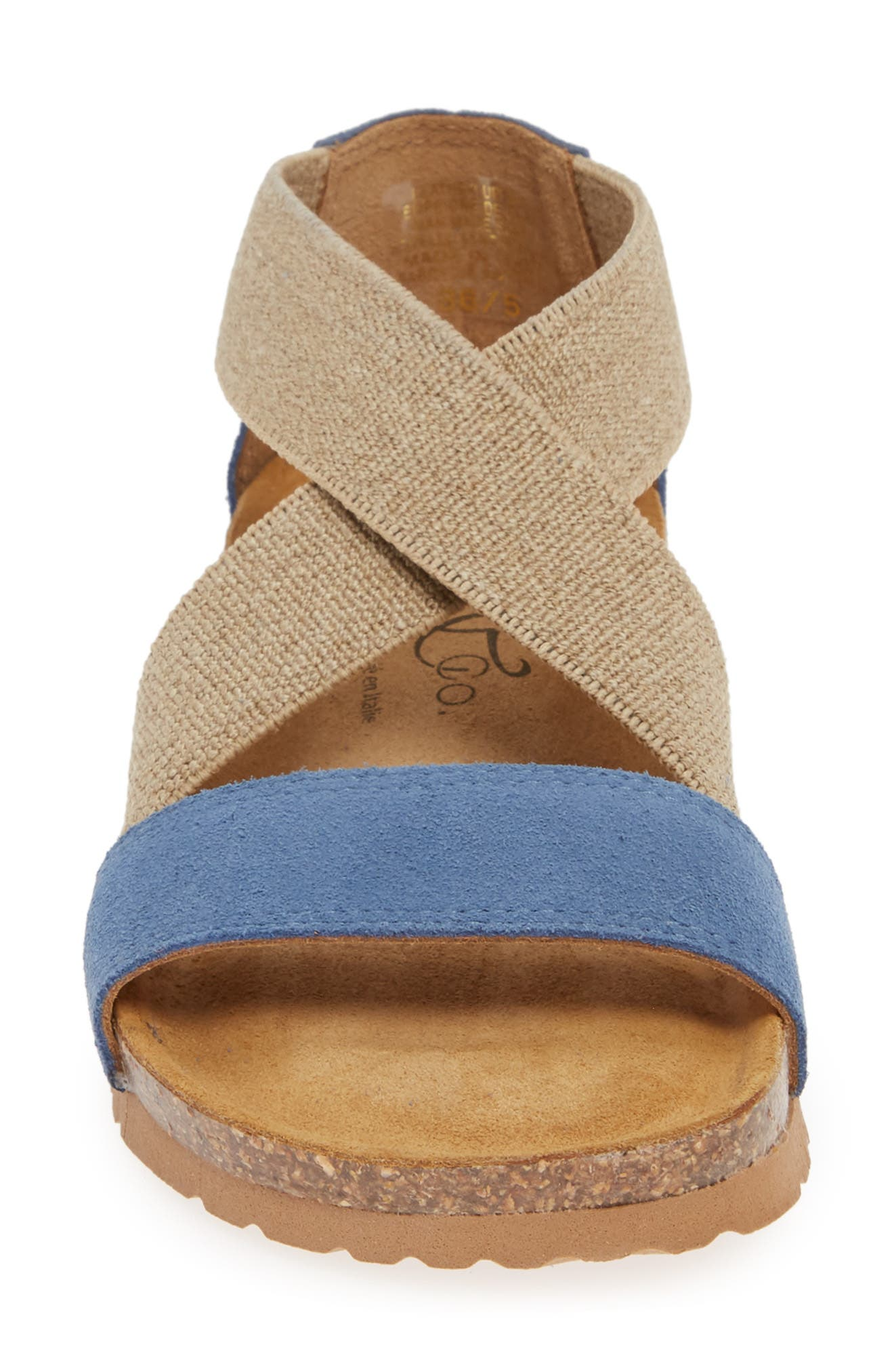 BOS. & CO.,                             Luki Sandal,                             Alternate thumbnail 4, color,                             JEANS SUEDE