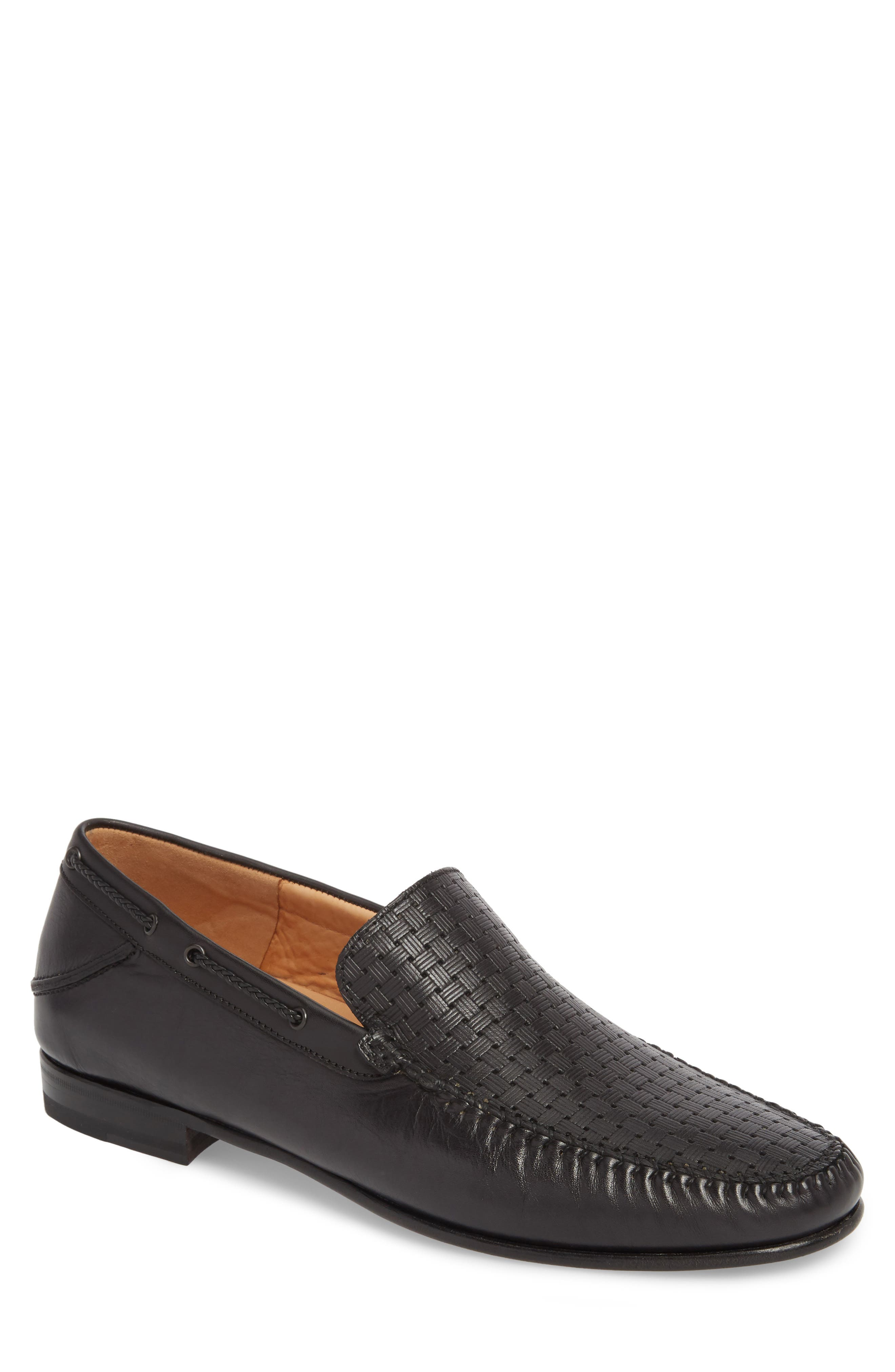 Jano Embossed Moc-Toe Loafer,                             Main thumbnail 1, color,                             BLACK LEATHER