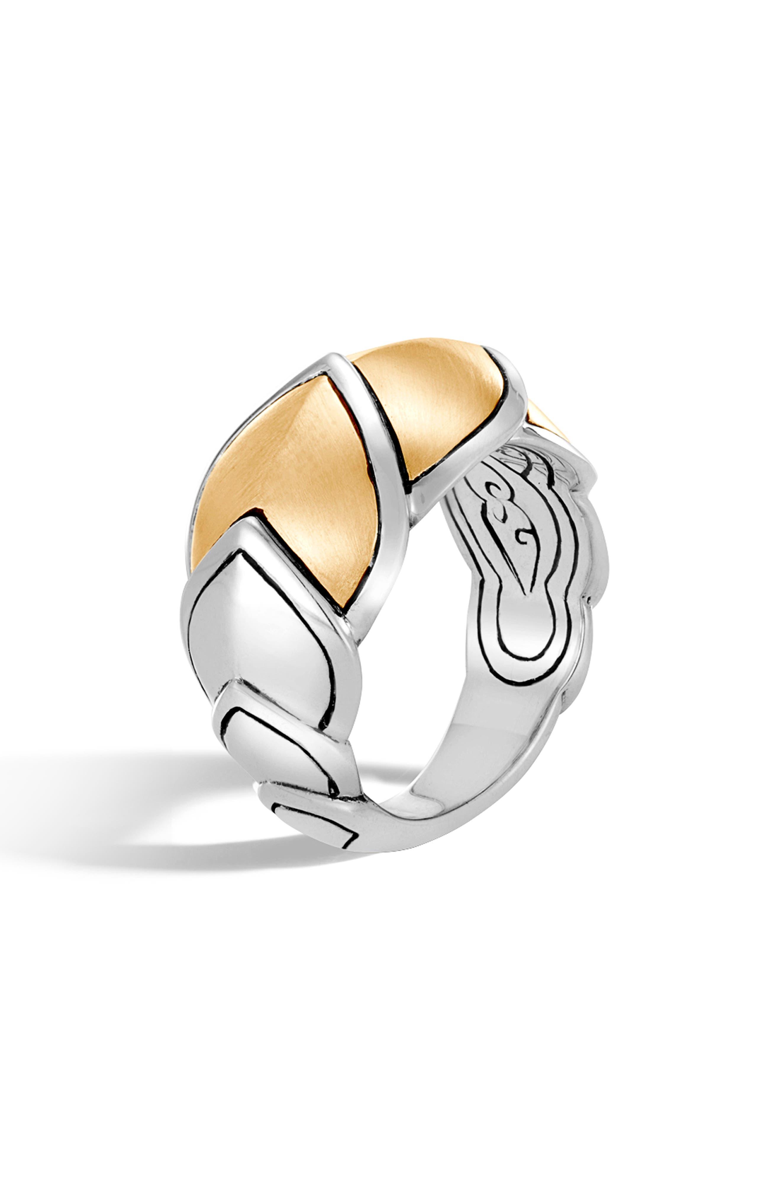 Sterling Silver & 18K Bonded Gold Legends Naga Brushed Medium Ring in Silver/ Gold