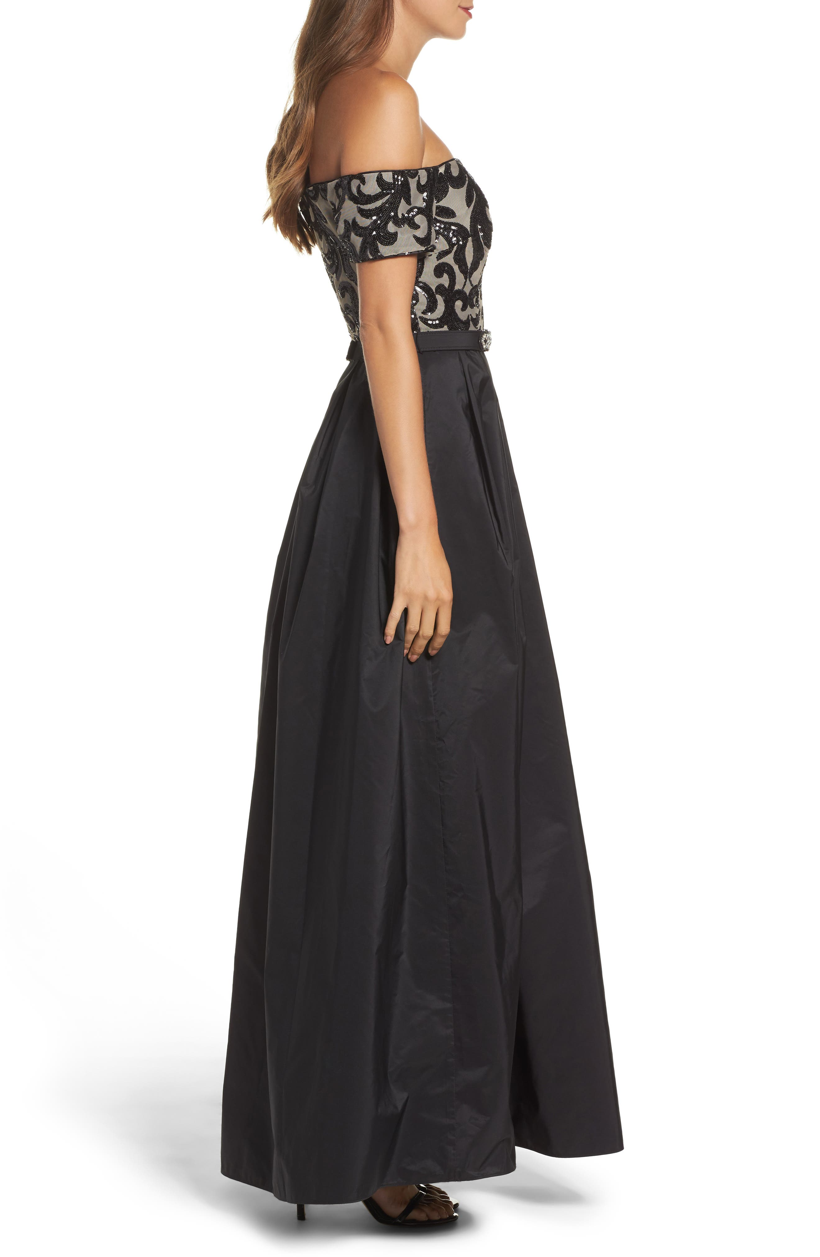 Embellished Off the Shoulder Ballgown,                             Alternate thumbnail 3, color,                             012