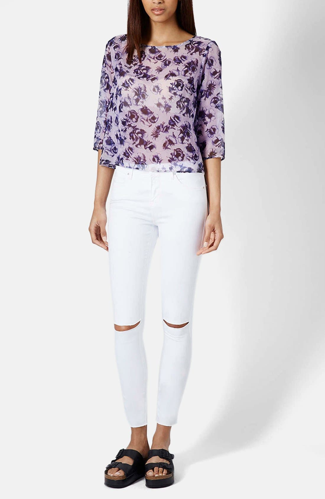 TOPSHOP,                             Moto 'Leigh' Ripped Ankle Skinny Jeans,                             Alternate thumbnail 5, color,                             100