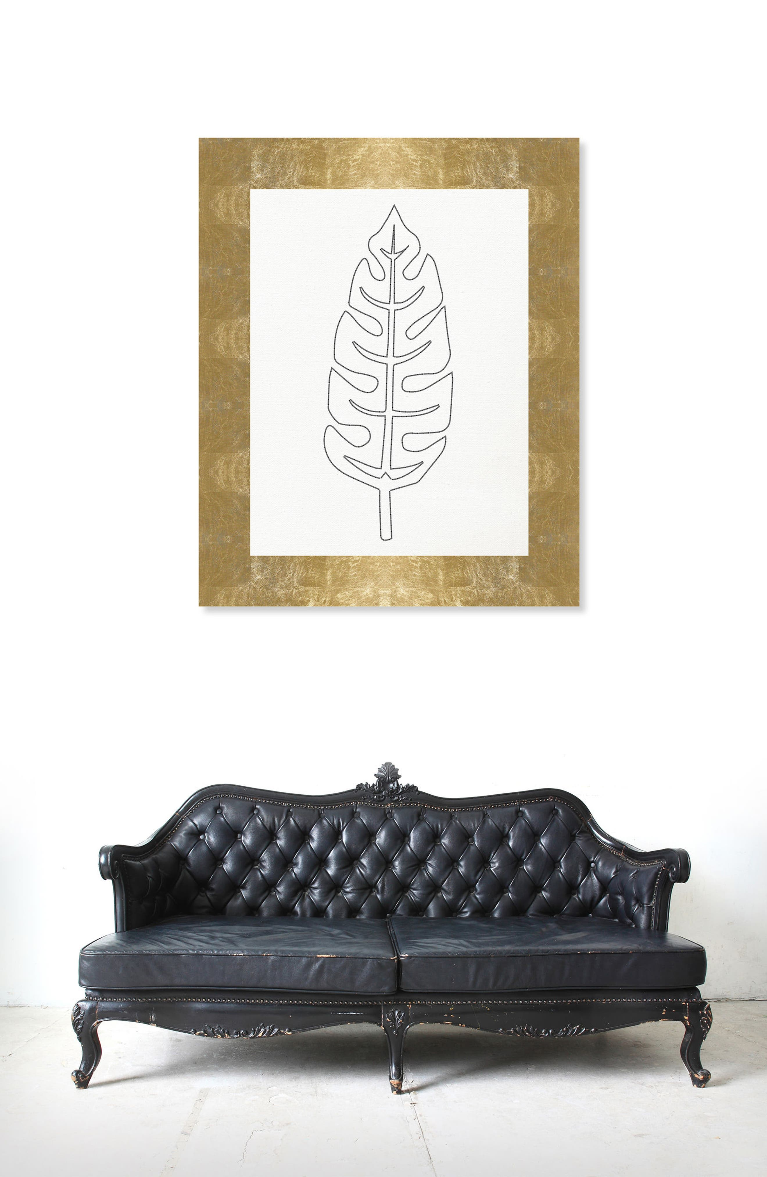 Stitched Palm Leaf II Canvas Wall Art,                             Alternate thumbnail 2, color,                             WHITE