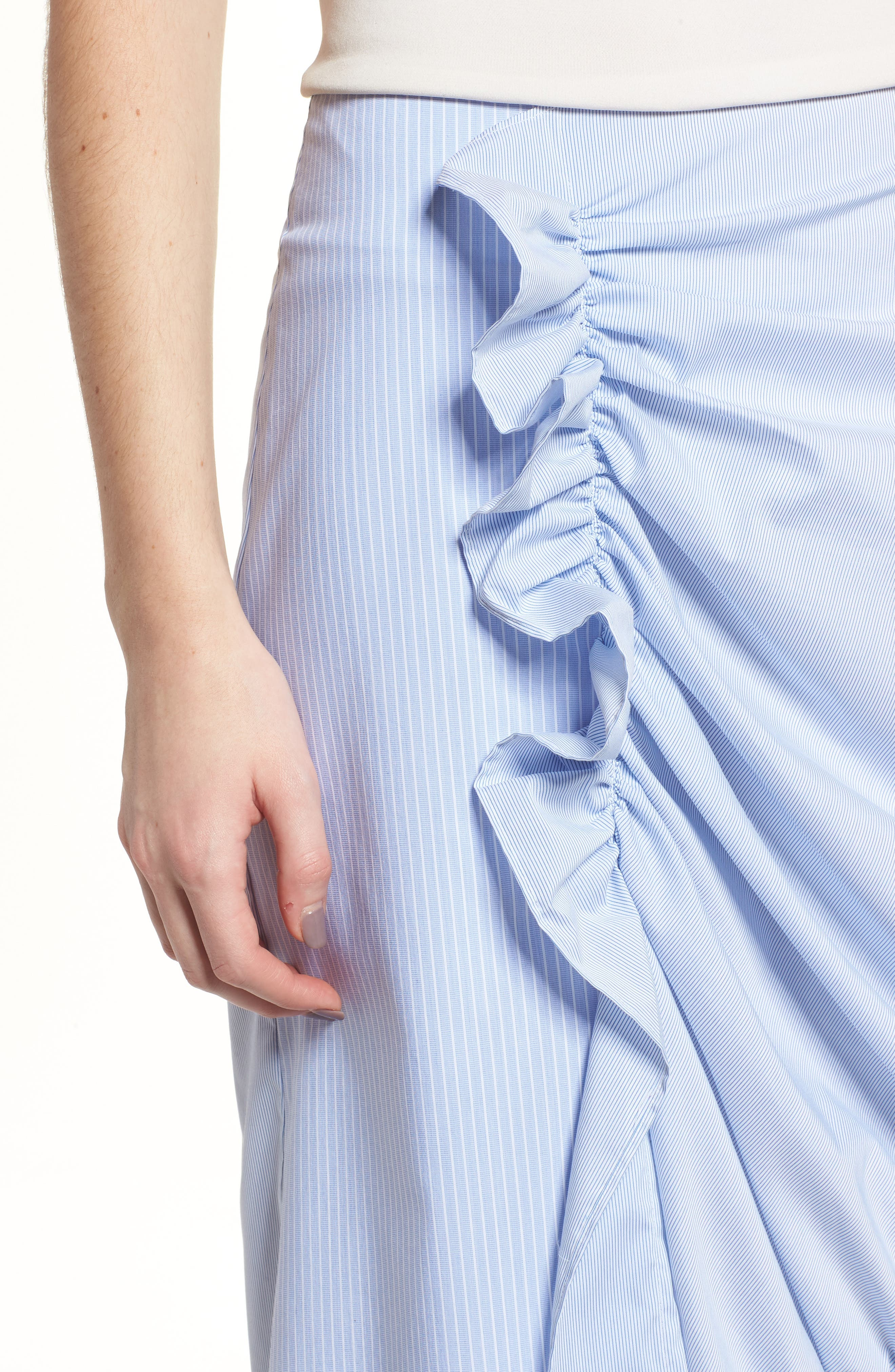 Mixed Stripe Poplin A-Line Skirt,                             Alternate thumbnail 7, color,