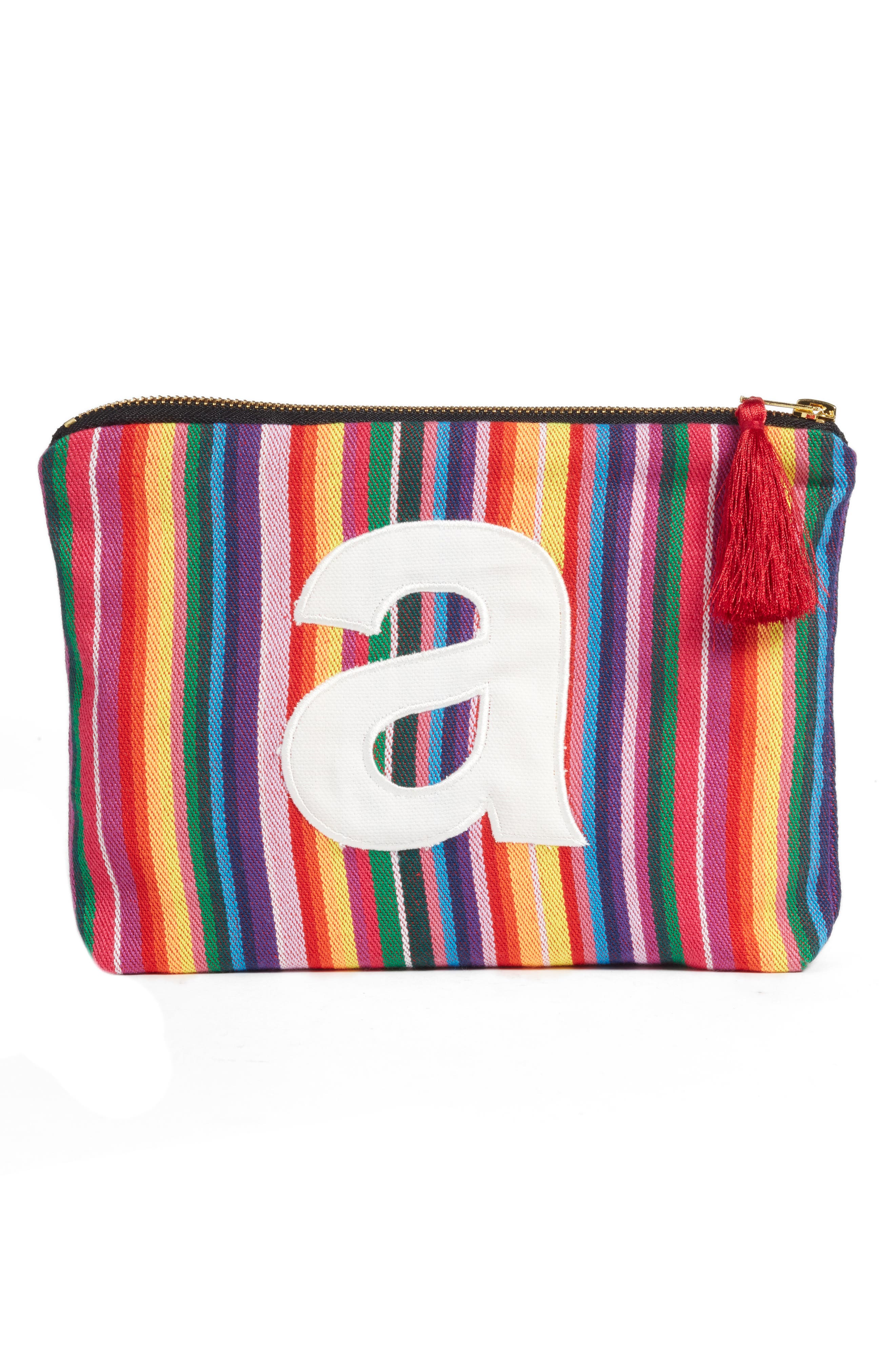 Cabo Initial Zip Pouch,                             Main thumbnail 1, color,                             600