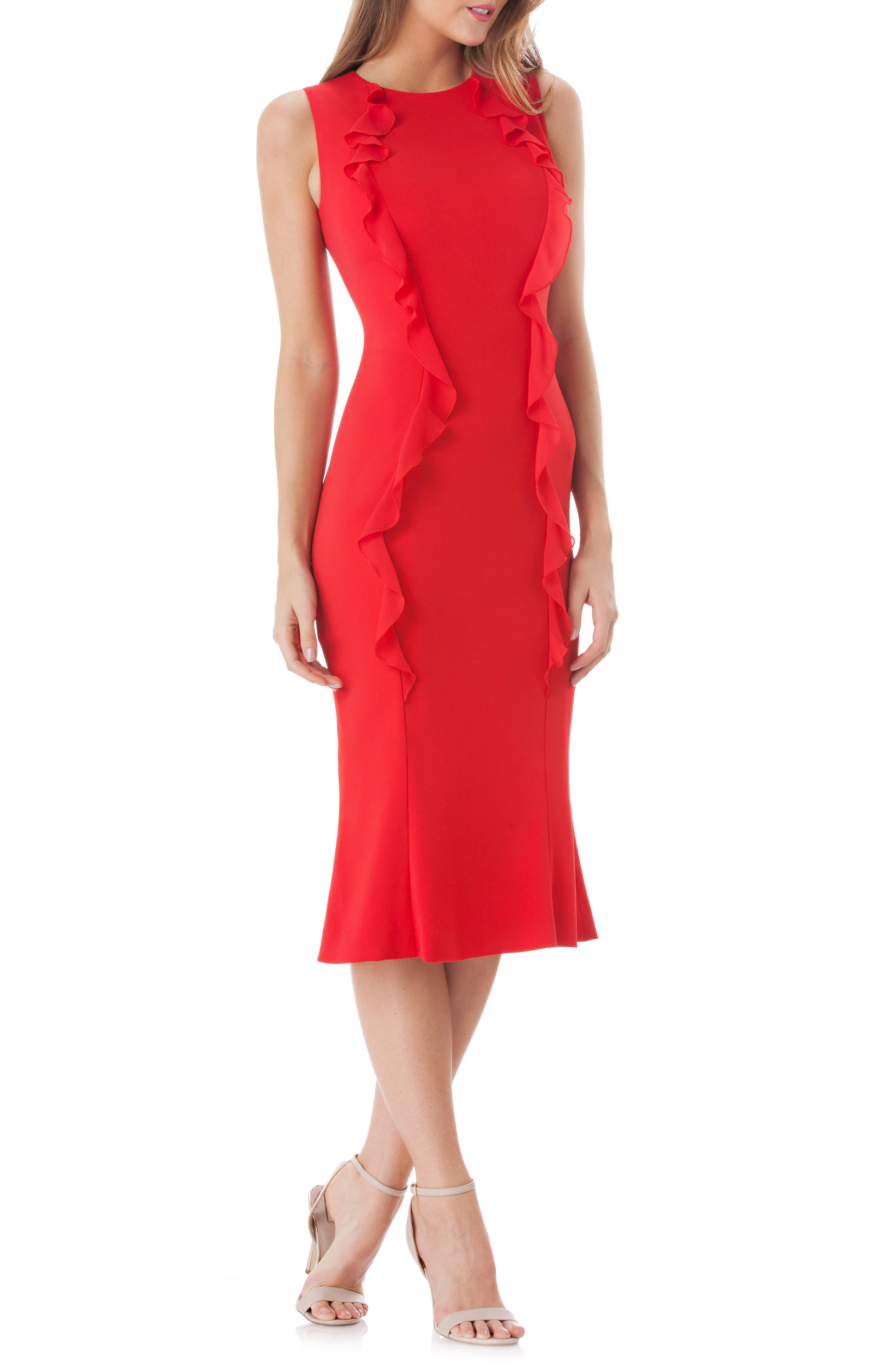 Vertical Ruffle Crepe Sheath Dress,                         Main,                         color, RED