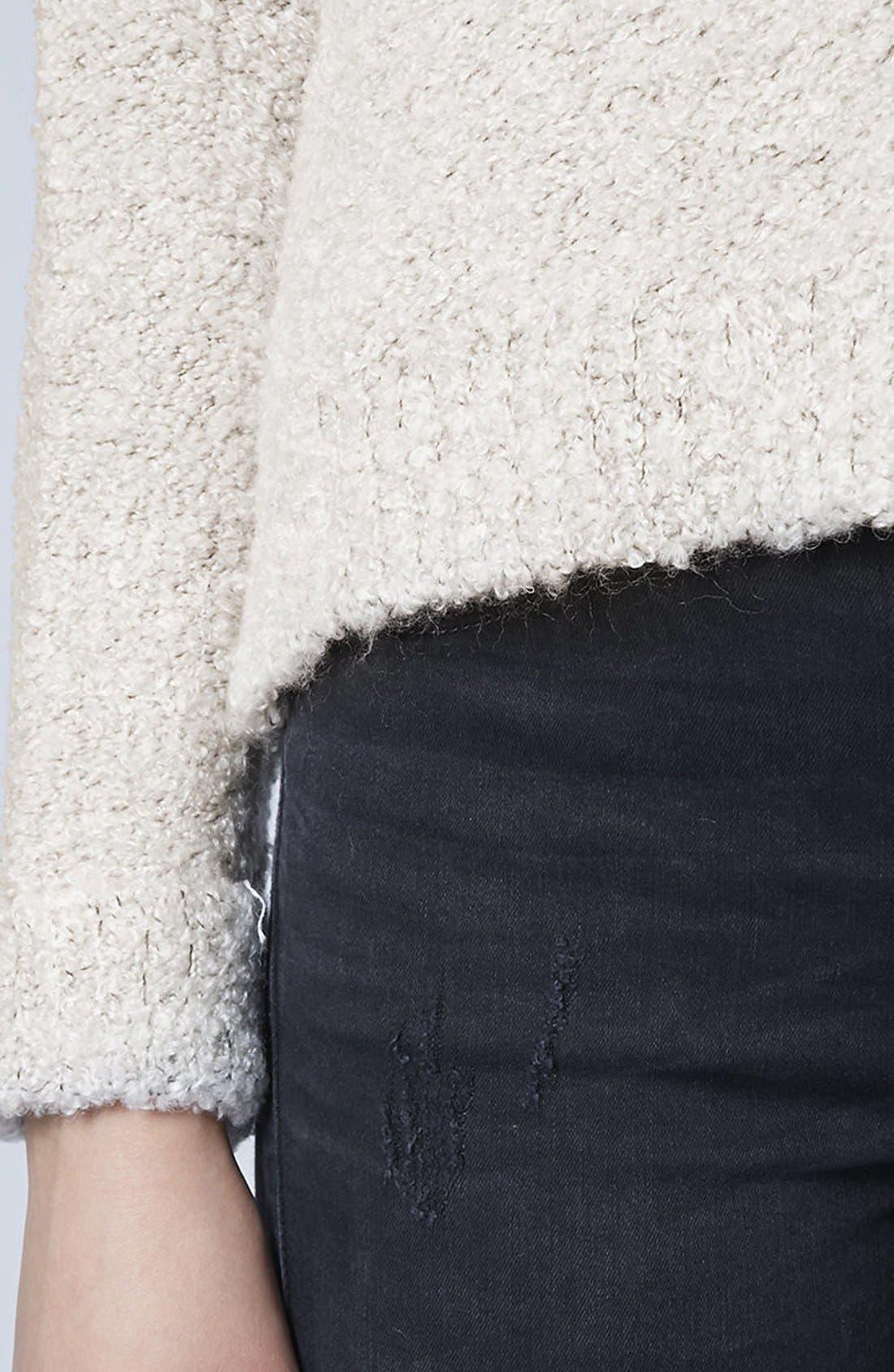 TOPSHOP,                             Bouclé Knit Sweater,                             Alternate thumbnail 5, color,                             100