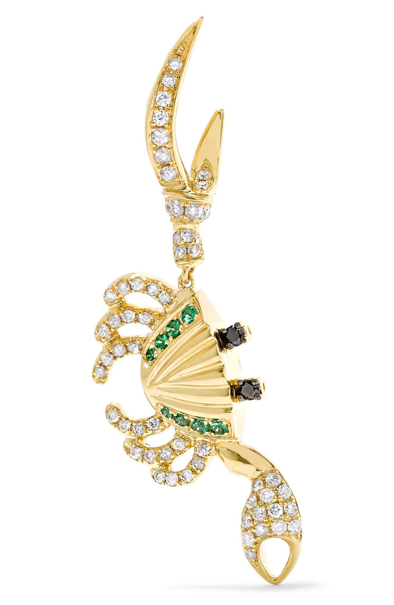 Crab Diamond & Tsavorite Earring, Main, color, YELLOW GOLD