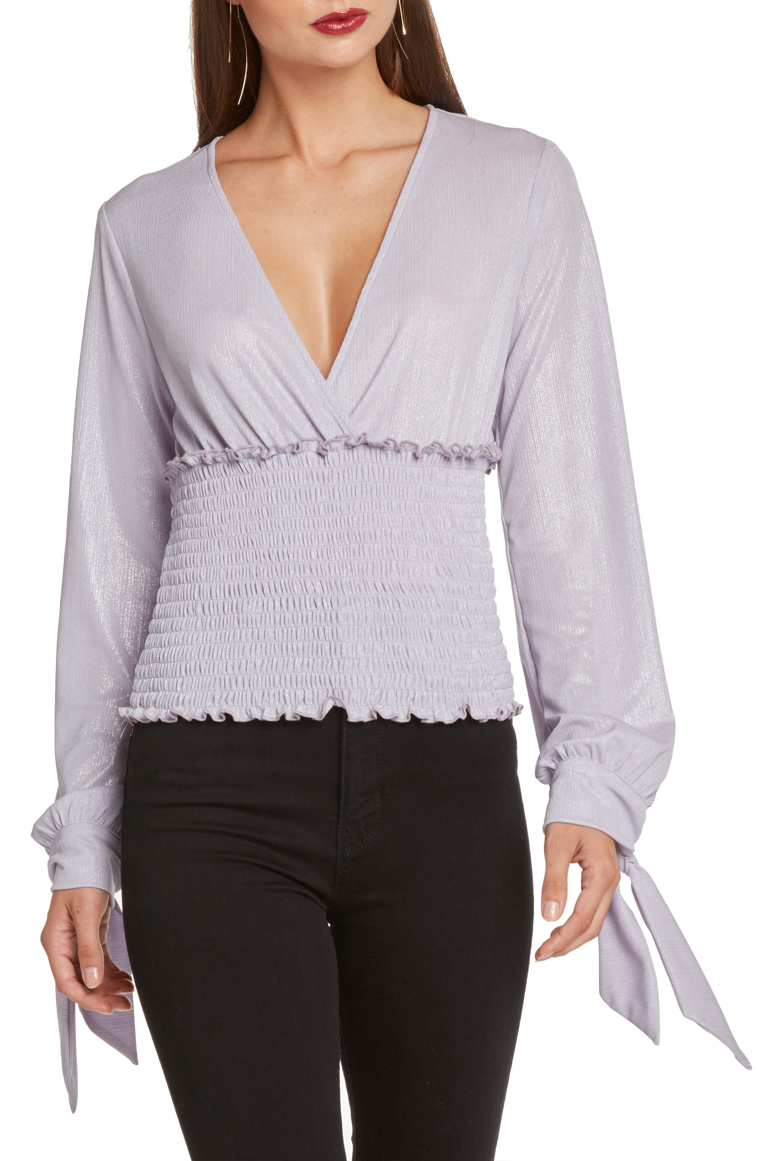 Smocked Tie Sleeve Top,                         Main,                         color, LILAC