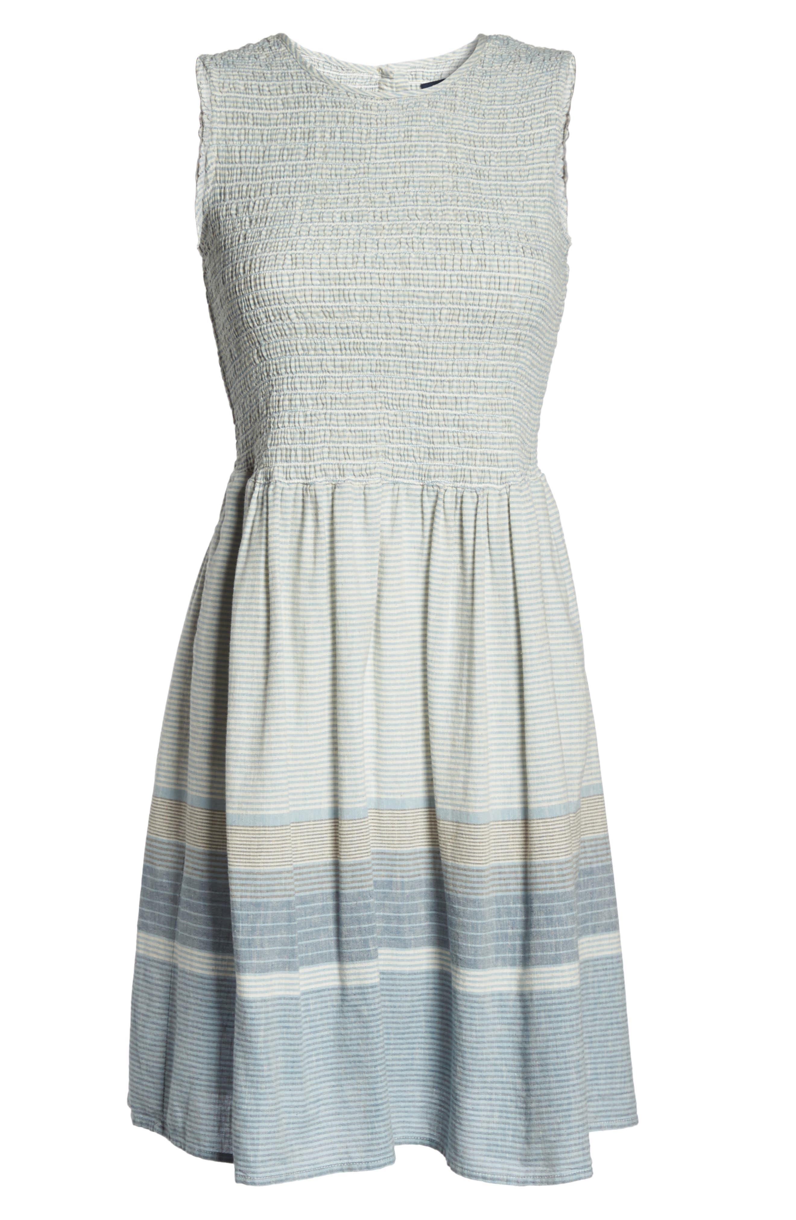 Serge Stripe Fit & Flare Dress,                             Alternate thumbnail 6, color,                             462