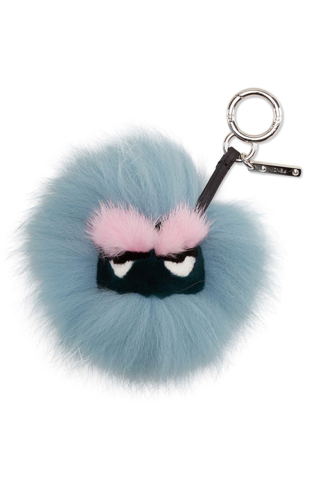 FENDI,                             'Mini Eyelash' Genuine Fox, Mink & Rabbit Fur Bag Charm,                             Main thumbnail 1, color,                             400