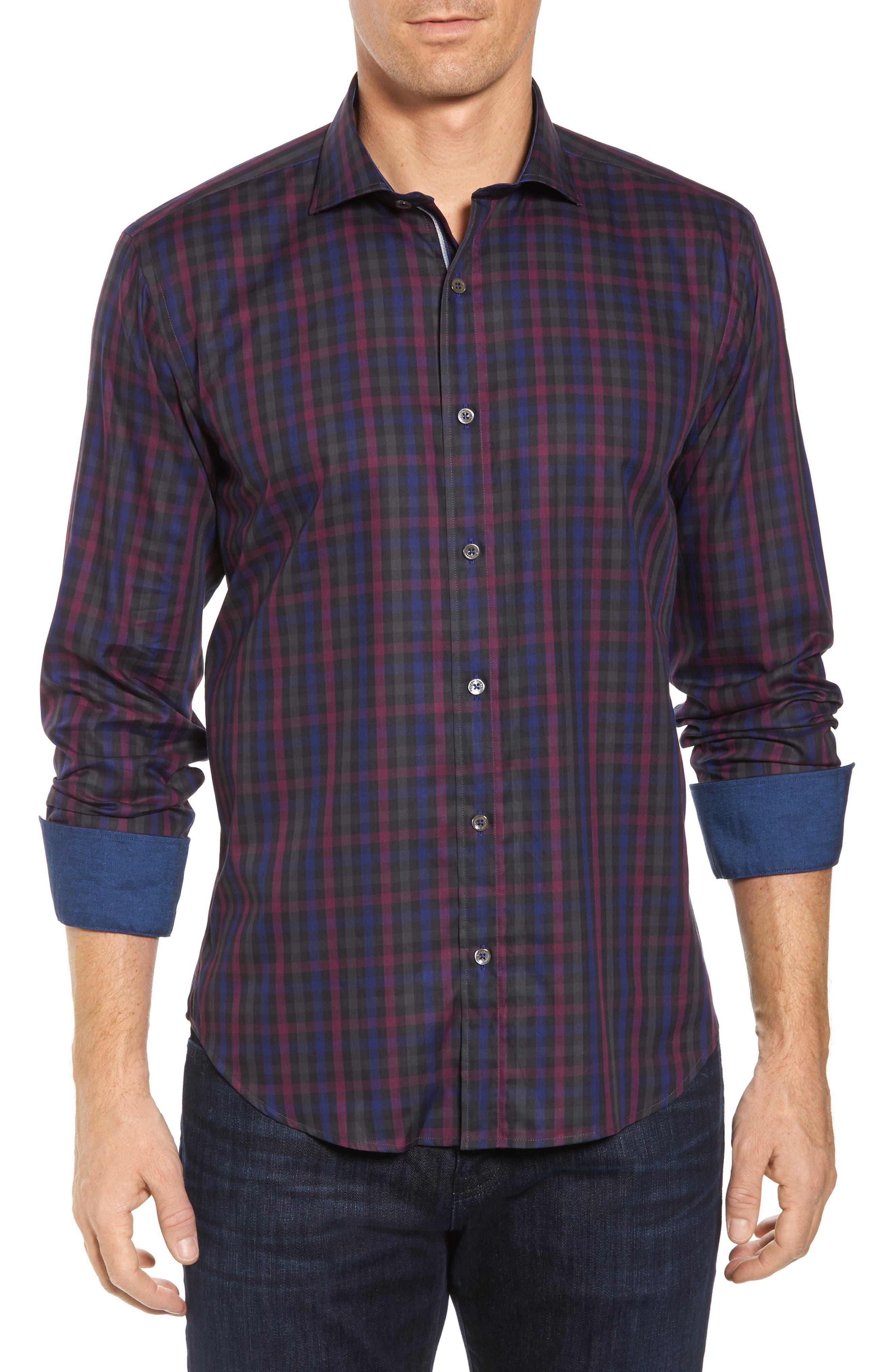 Shaped Fit Herringbone Plaid Sport Shirt,                             Main thumbnail 1, color,                             503