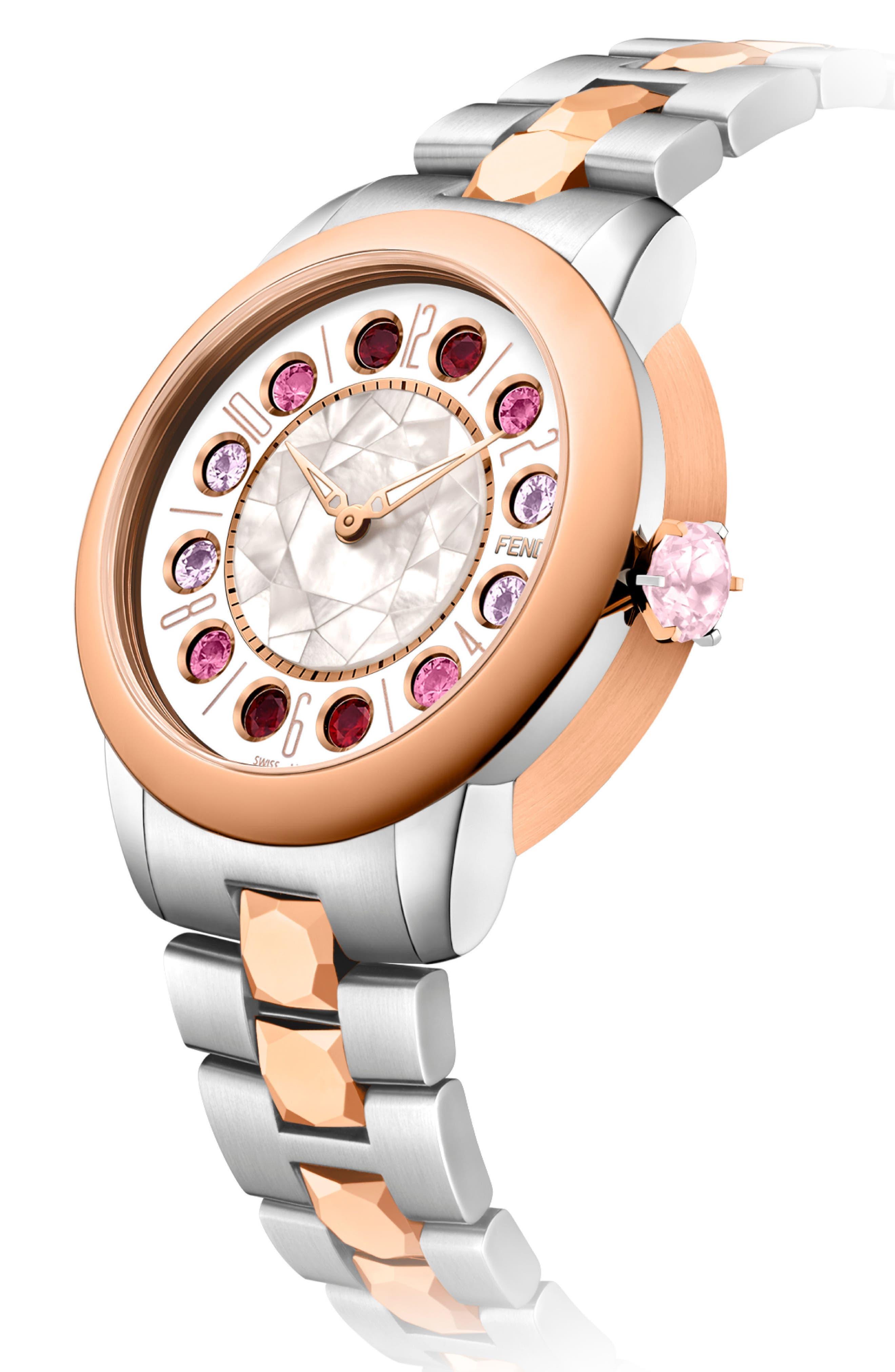 Ishine Rotating Stone Bracelet Watch, 33mm,                             Alternate thumbnail 2, color,                             SILVER/ MOP/ ROSE GOLD