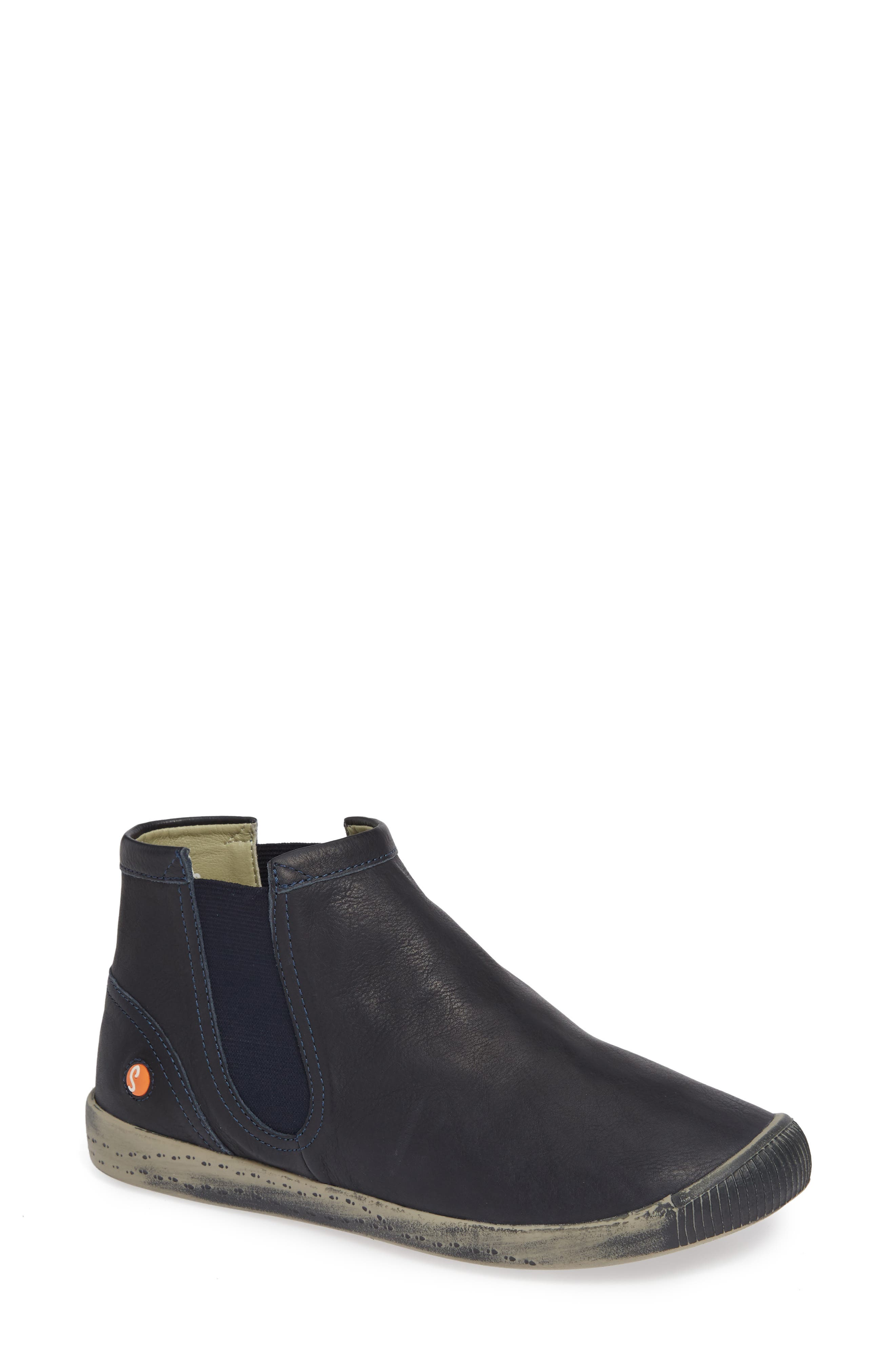 SOFTINOS BY FLY LONDON Ici Sneaker, Main, color, NAVY SMOOTH LEATHER