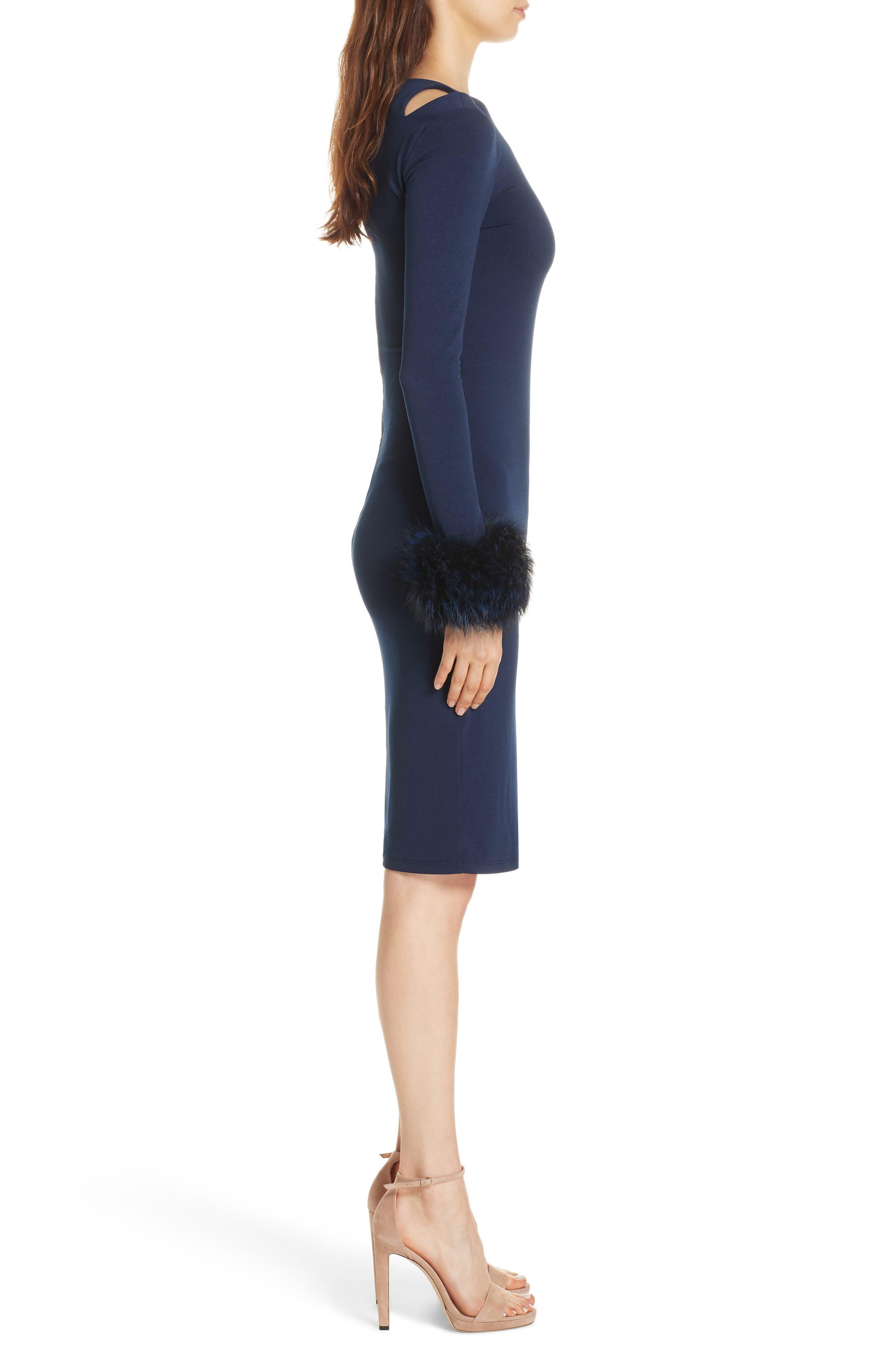 Tabitha Genuine Fox Fur Cuff Dress,                             Alternate thumbnail 3, color,                             400