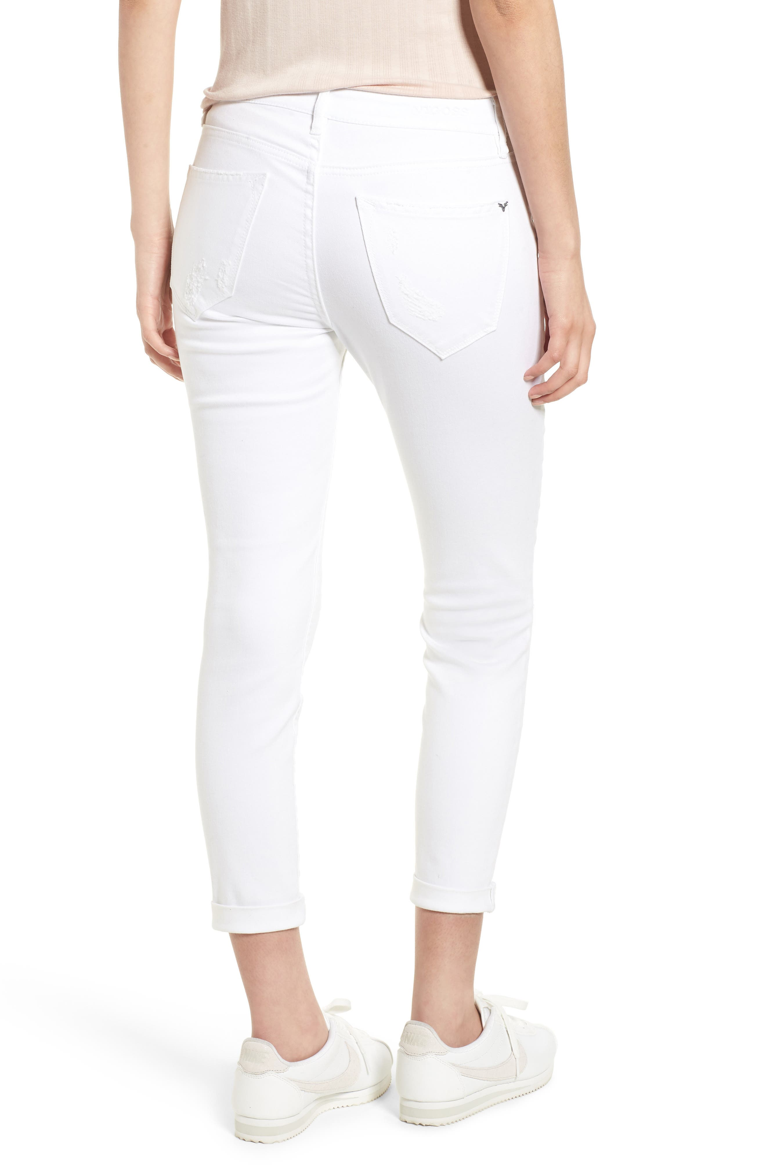 Thompson Tomboy Distressed Cuffed Crop Skinny Jeans,                             Alternate thumbnail 2, color,