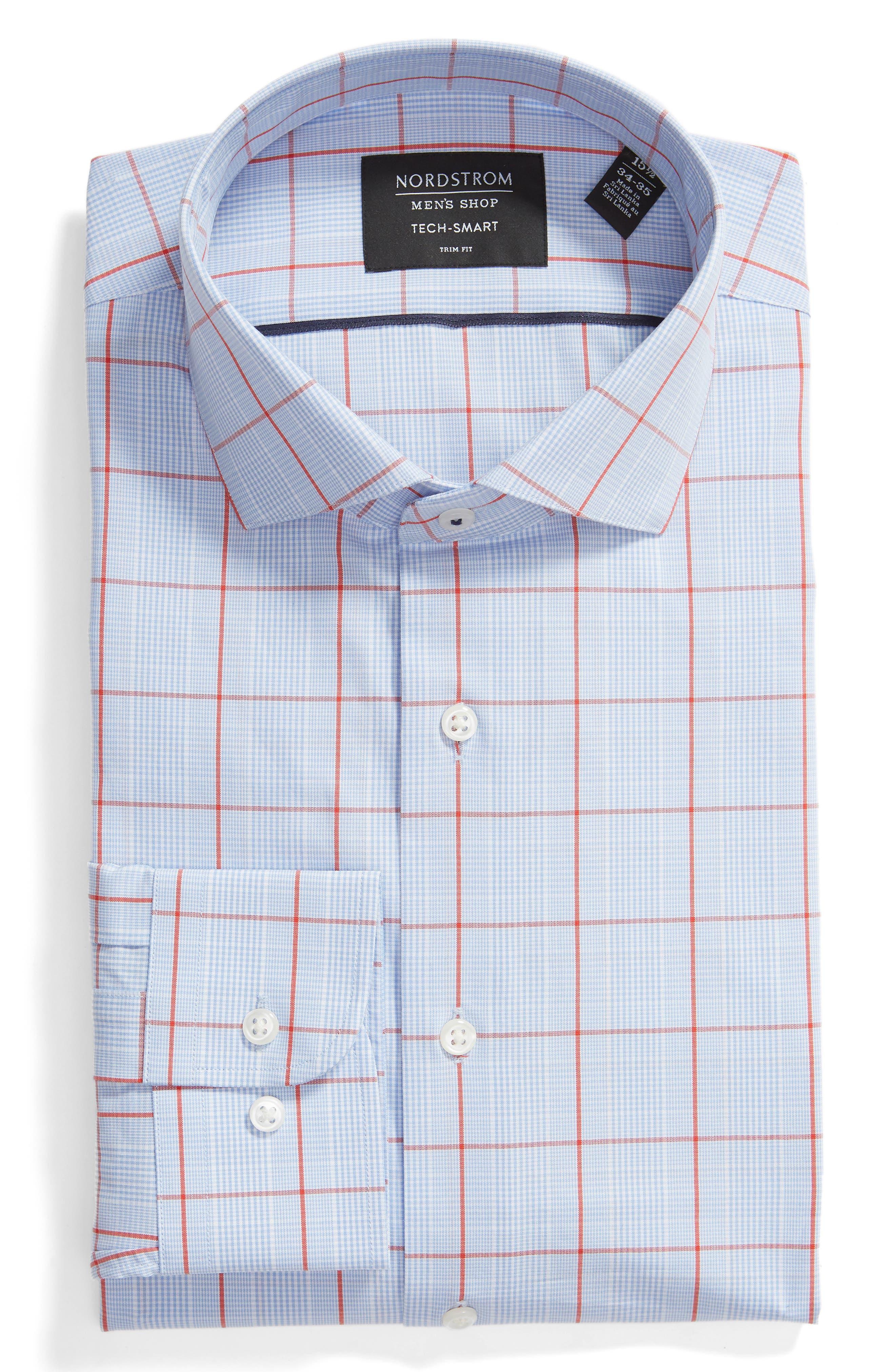 Tech-Smart Trim Fit Stretch Check Dress Shirt,                             Alternate thumbnail 5, color,                             RED SAUCY