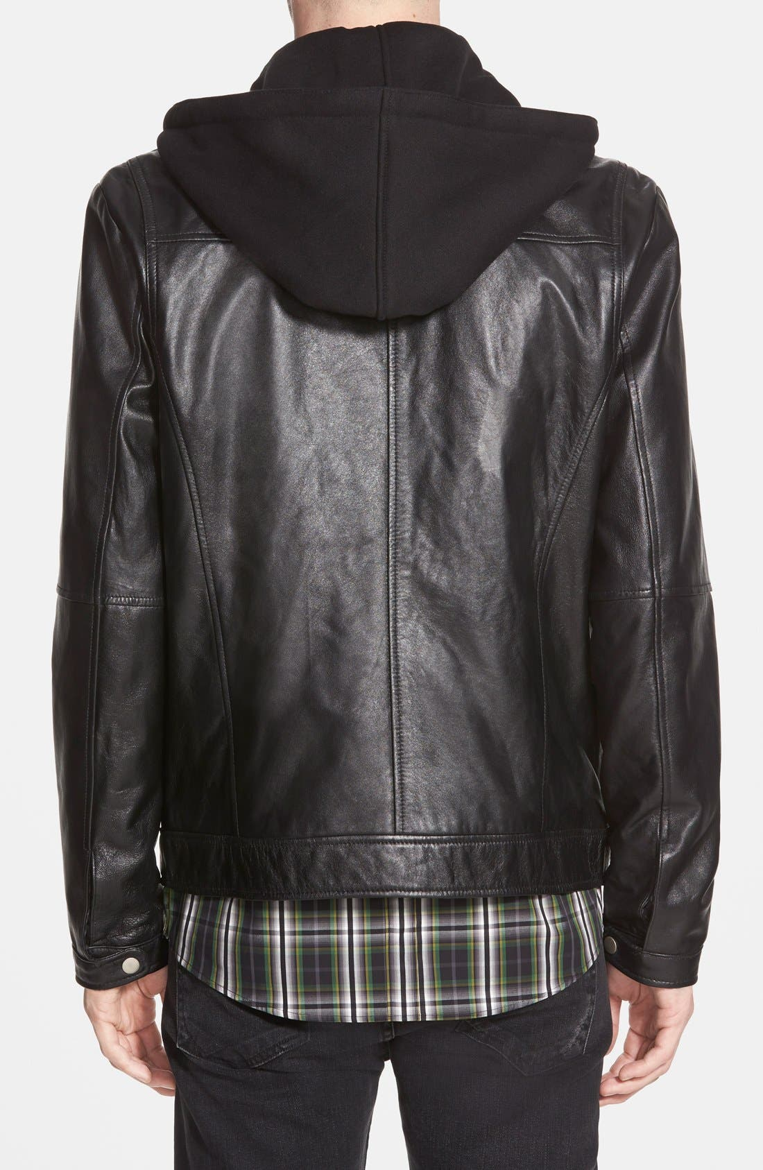 7 DIAMONDS,                             'Los Angeles' Trim Fit Leather Moto Jacket with Inset Hood,                             Alternate thumbnail 3, color,                             001