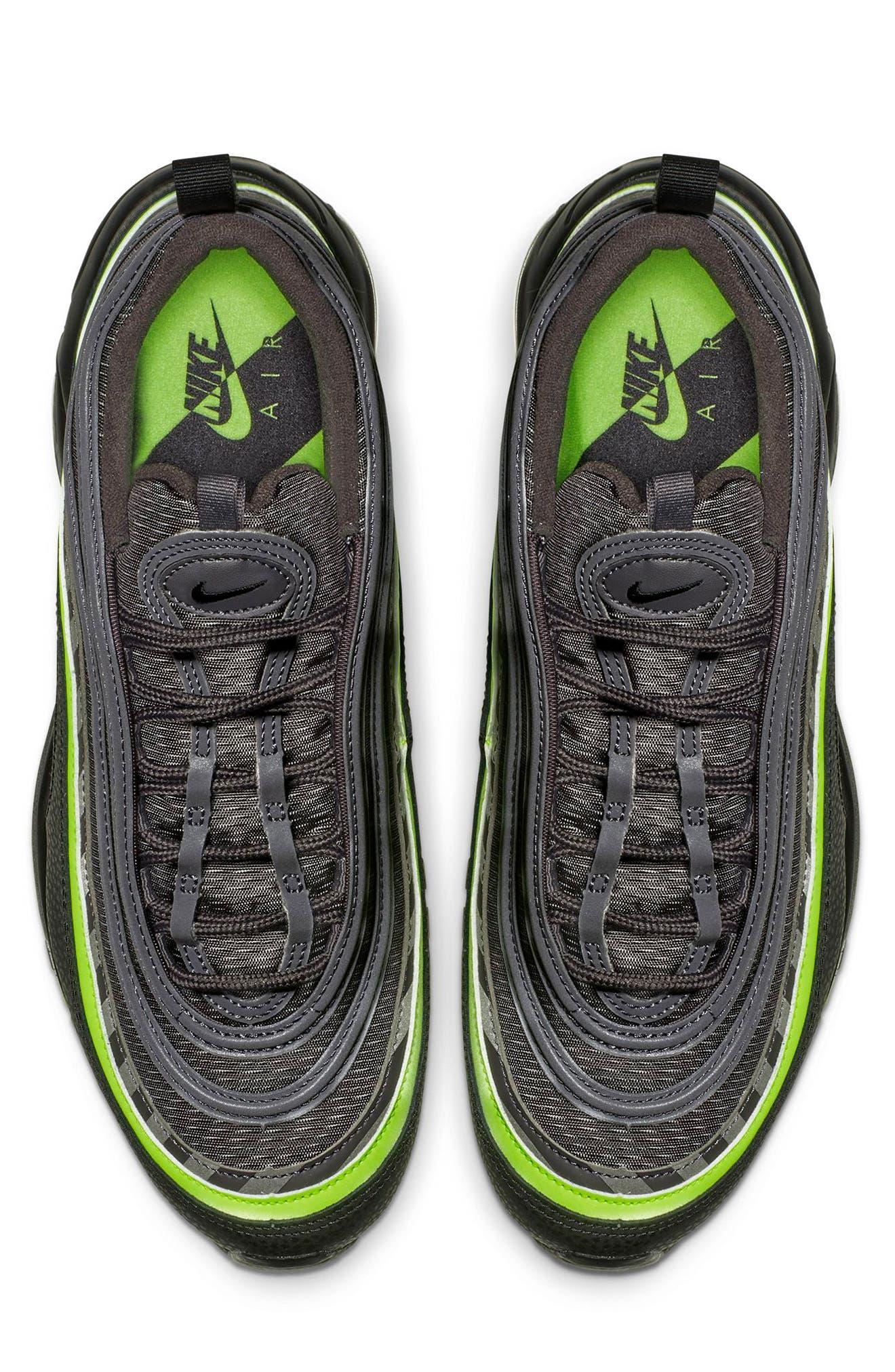 Air Max 97 Sneaker,                             Alternate thumbnail 4, color,                             THUNDER GREY/ LIME/ BLACK