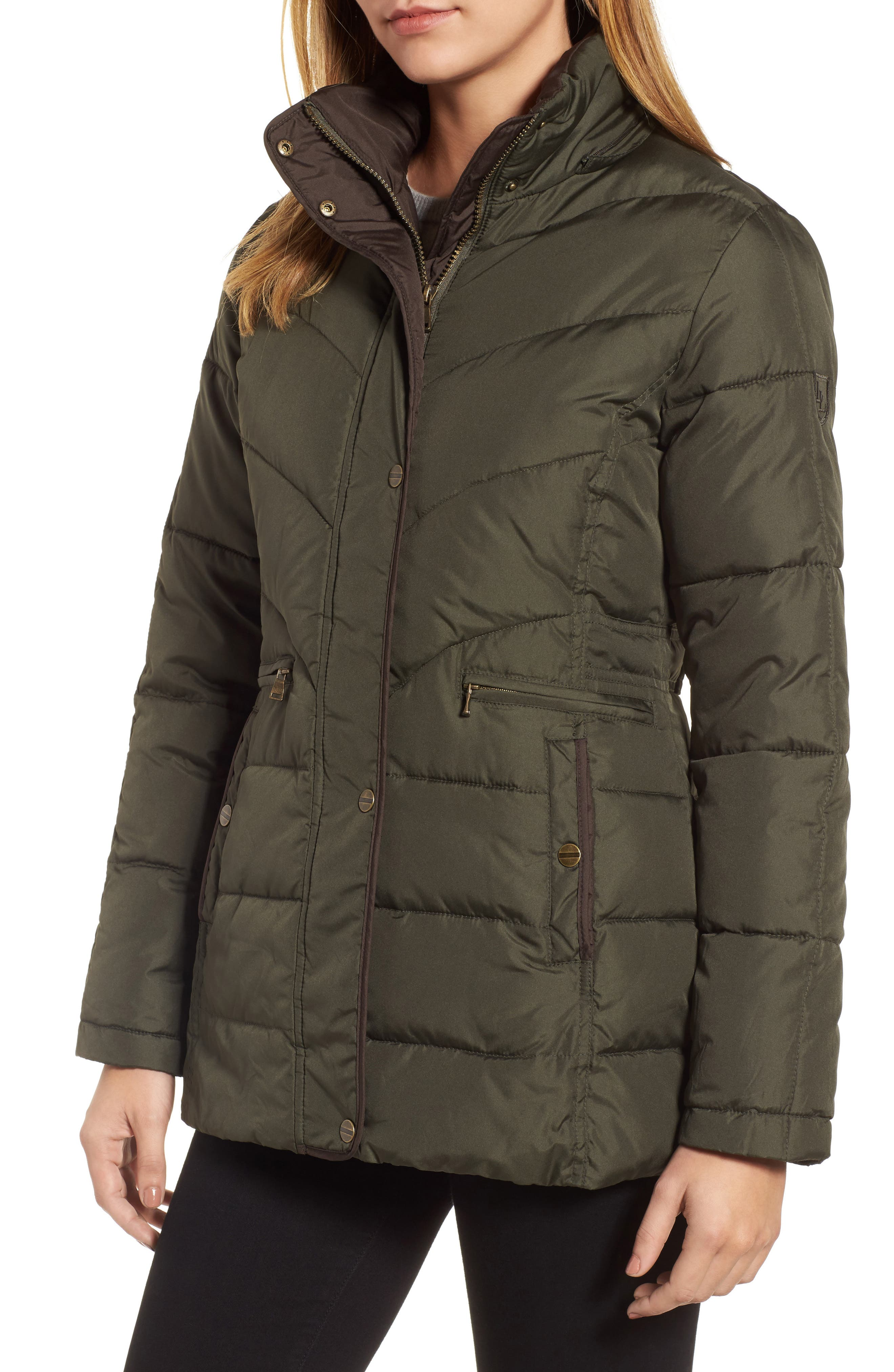 Quilted Coat with Faux Fur Trim,                             Alternate thumbnail 4, color,                             312